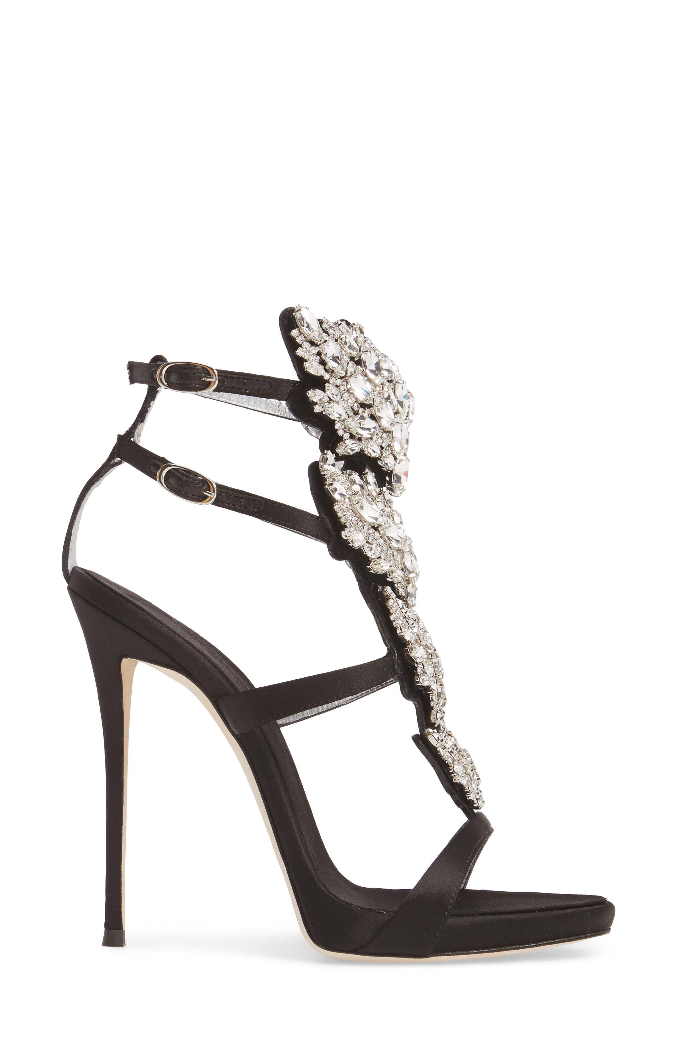 Cruel Wing Crystal Embellished Sandal,                             Alternate thumbnail 3, color,                             Black/ Crystal