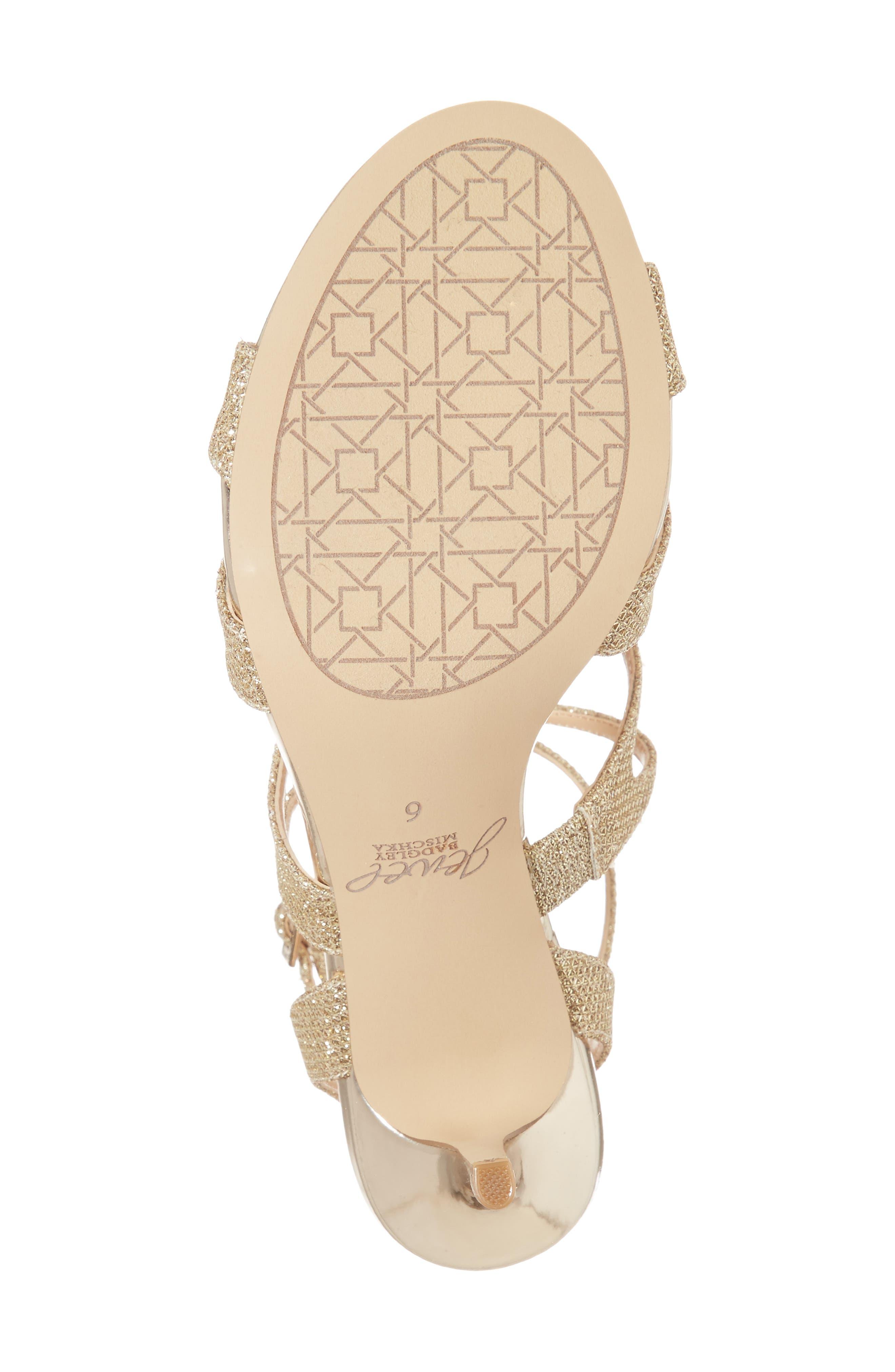 Tasha Glitter Sandal,                             Alternate thumbnail 4, color,                             Light Gold Glitter