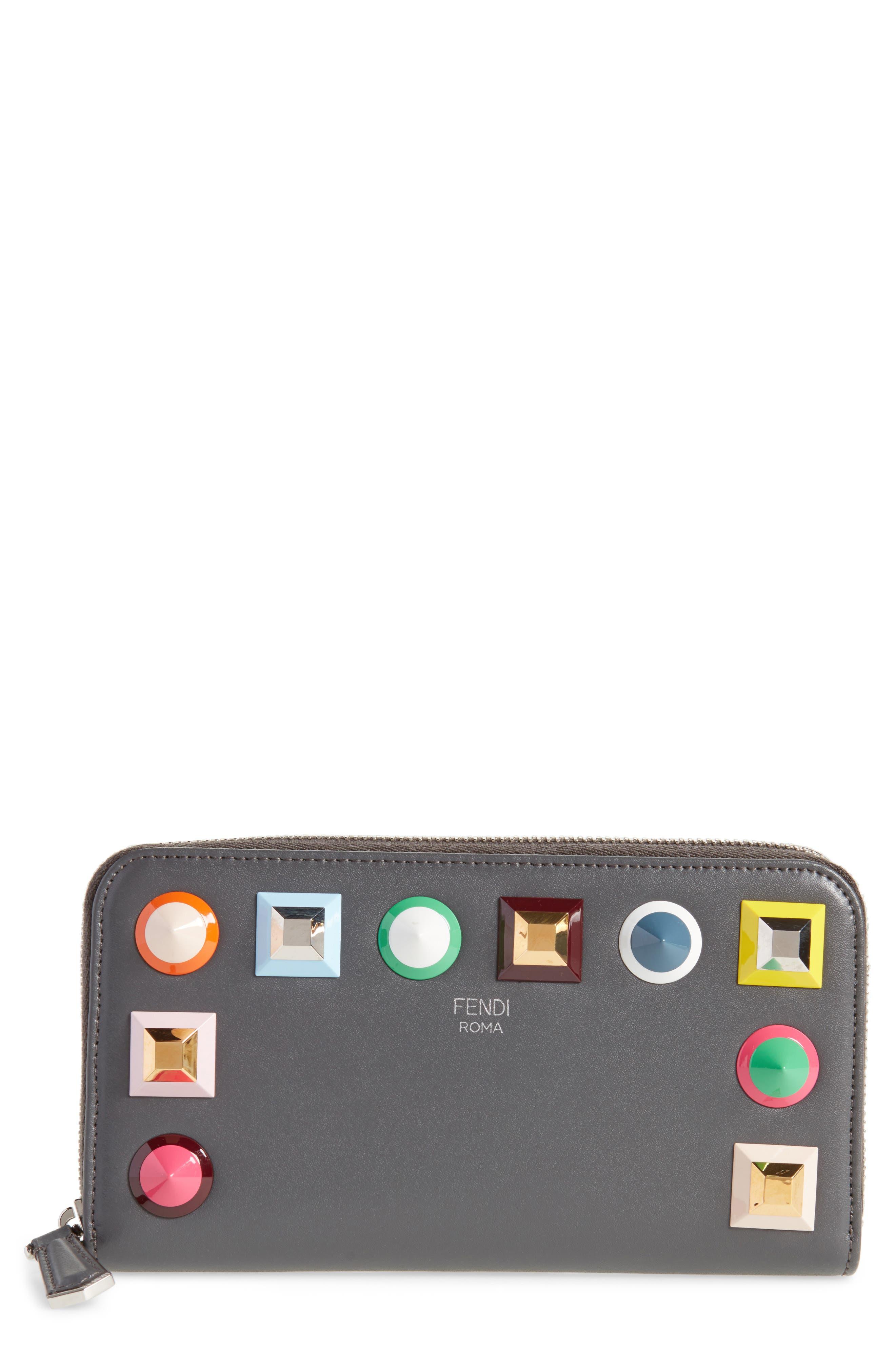 Studded Calfskin Wallet,                         Main,                         color, Asphalt