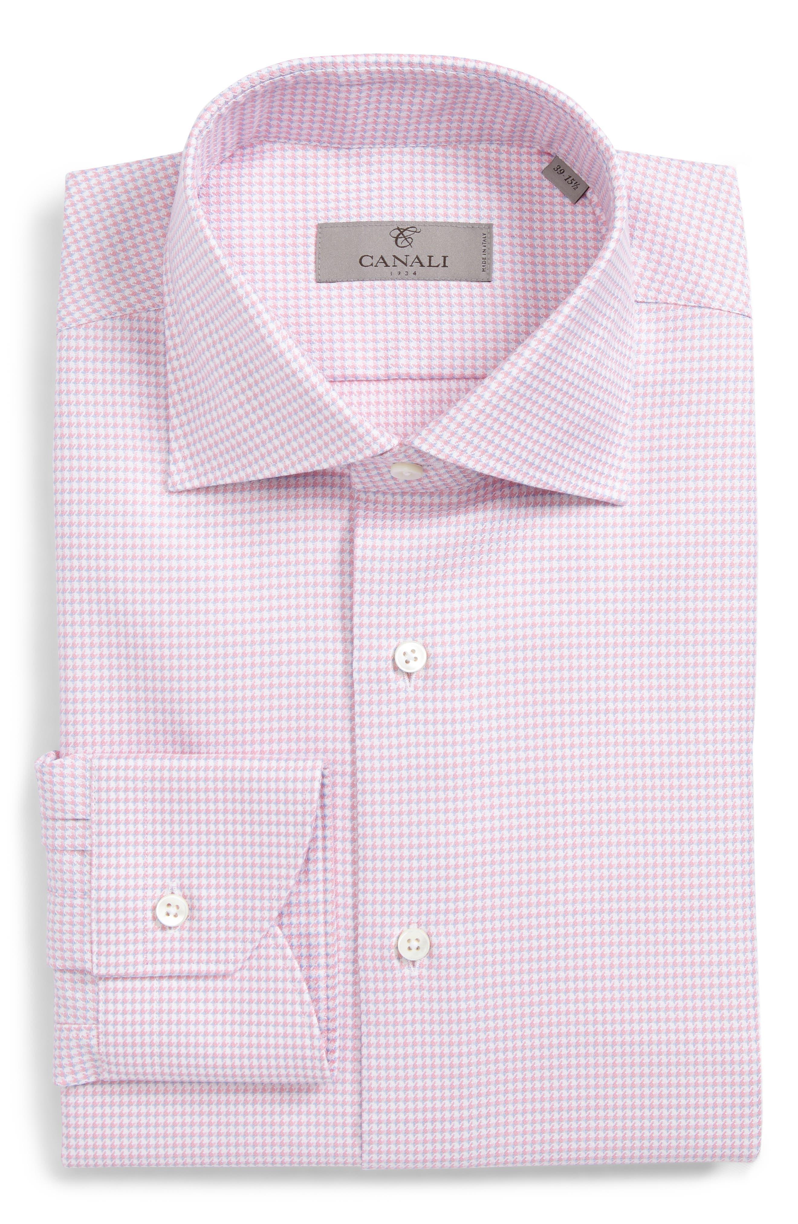 Regular Fit Houndstooth Dress Shirt,                         Main,                         color, Pink