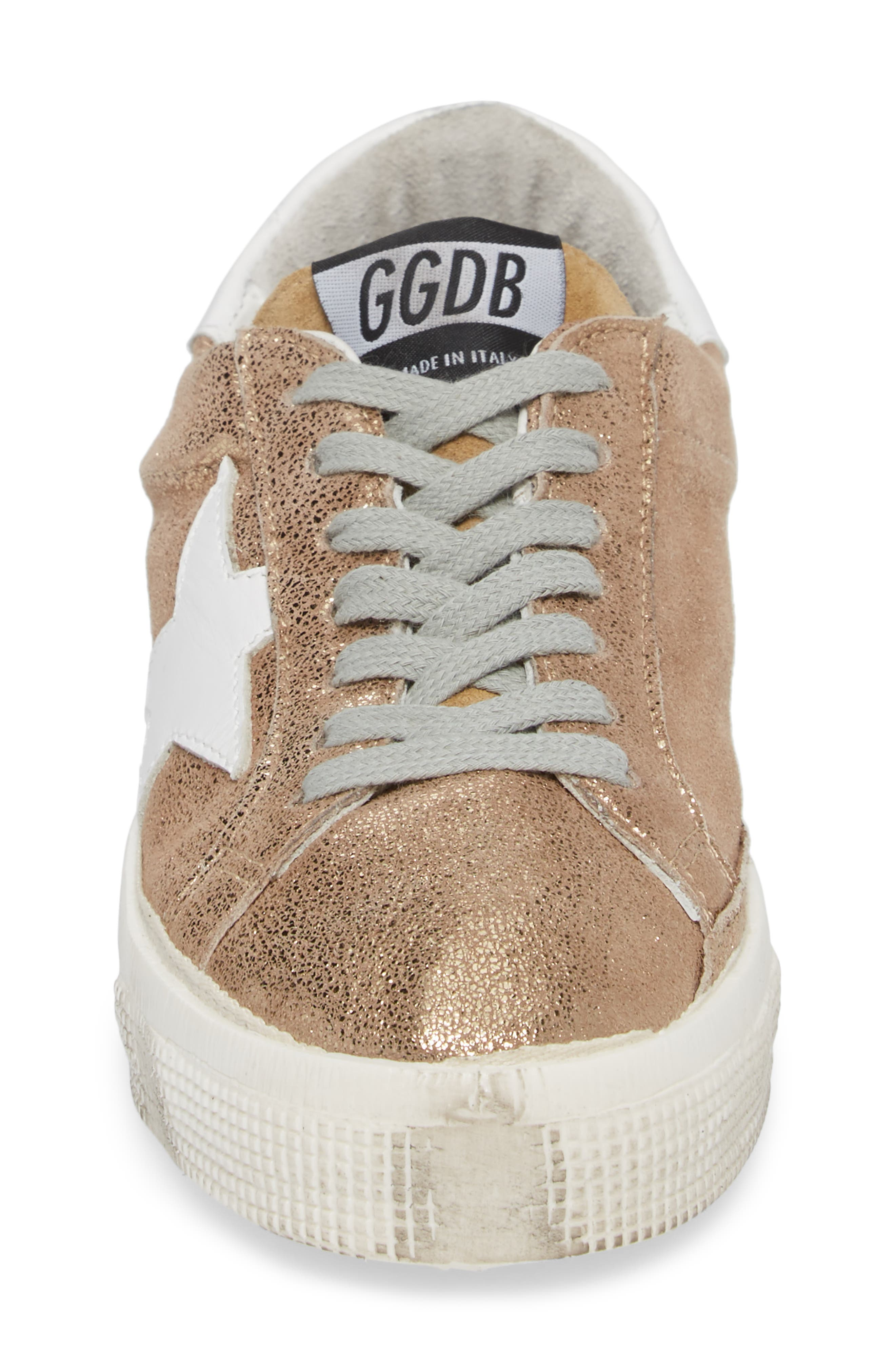 May Metallic Low Top Sneaker,                             Alternate thumbnail 4, color,                             Gold/ White