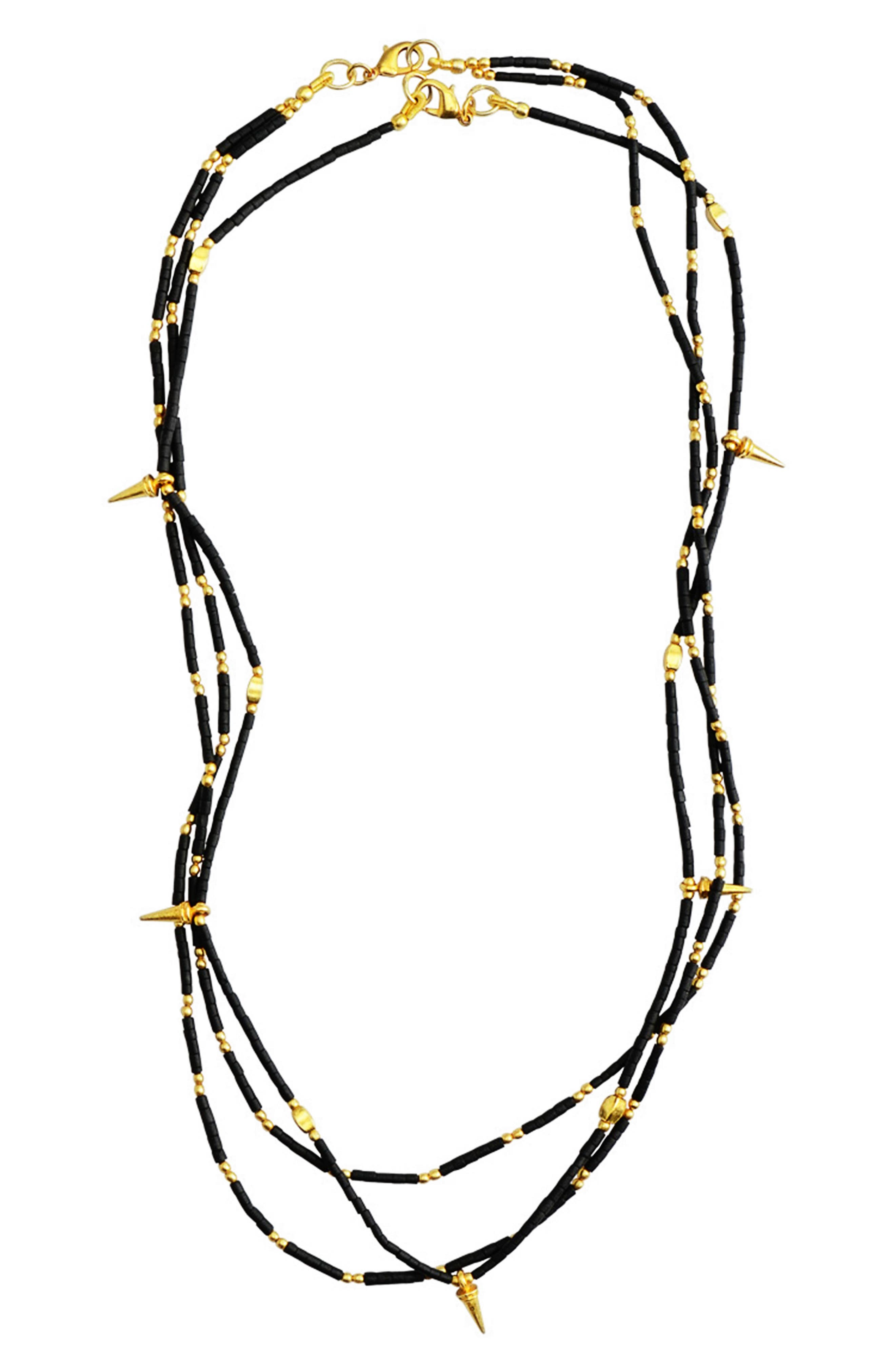 Fleur Set of 2 Necklaces,                             Main thumbnail 1, color,                             Black