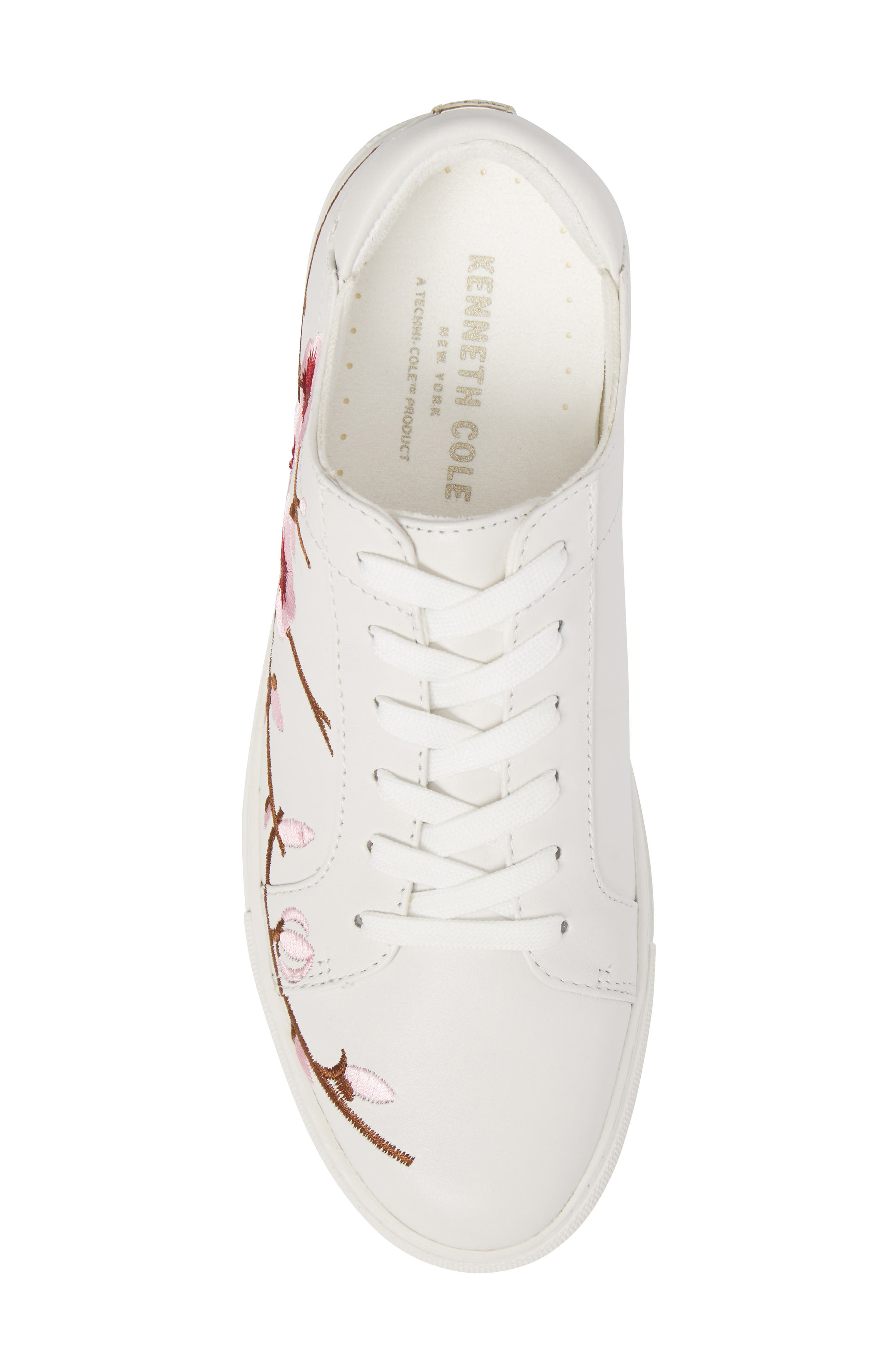 Kam Blossom Embroidered Sneaker,                             Alternate thumbnail 5, color,                             White Leather