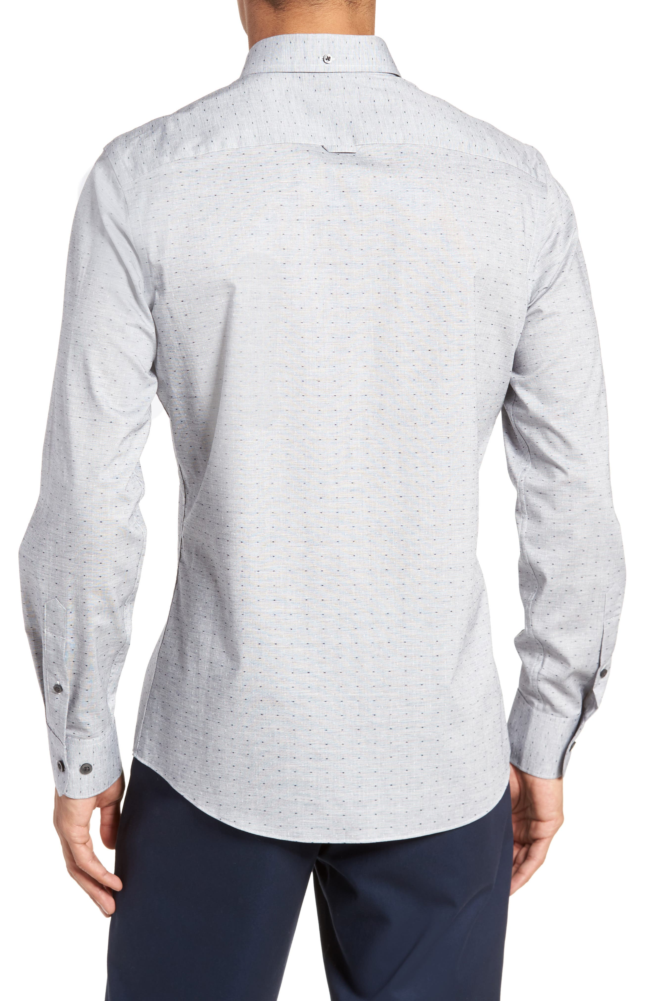 Trim Fit Dobby Sport Shirt,                             Alternate thumbnail 3, color,                             Navy White Eoe Dobby