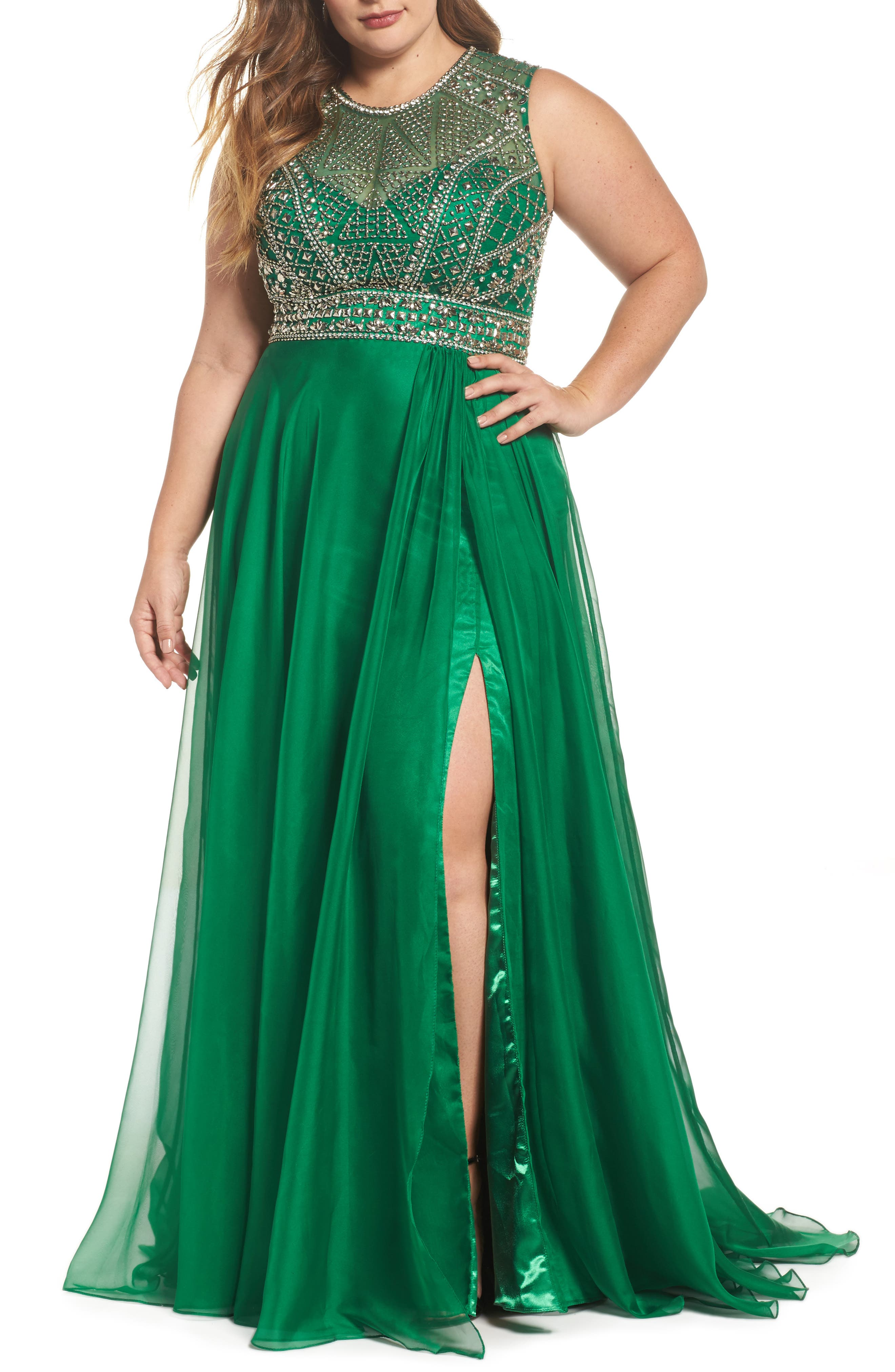 Embellished Ballgown,                         Main,                         color, Emerald