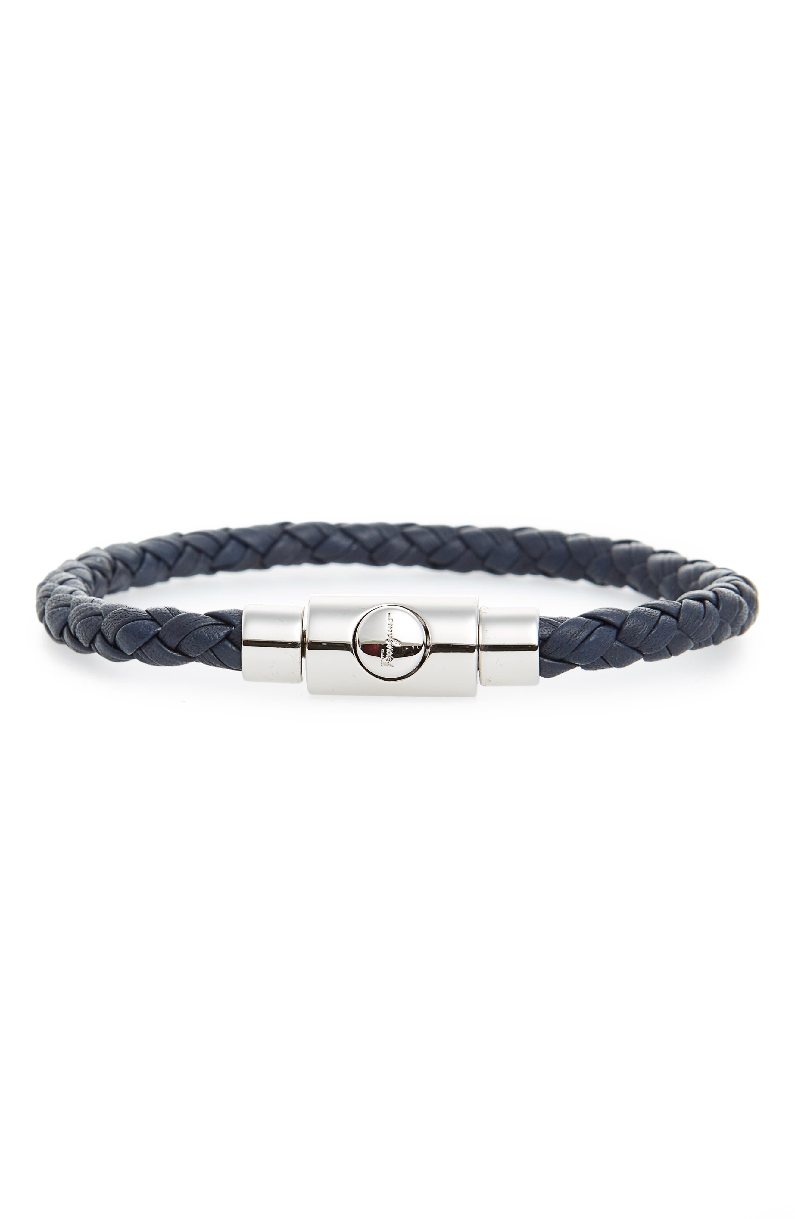 Braided Leather Bracelet,                         Main,                         color, Marine