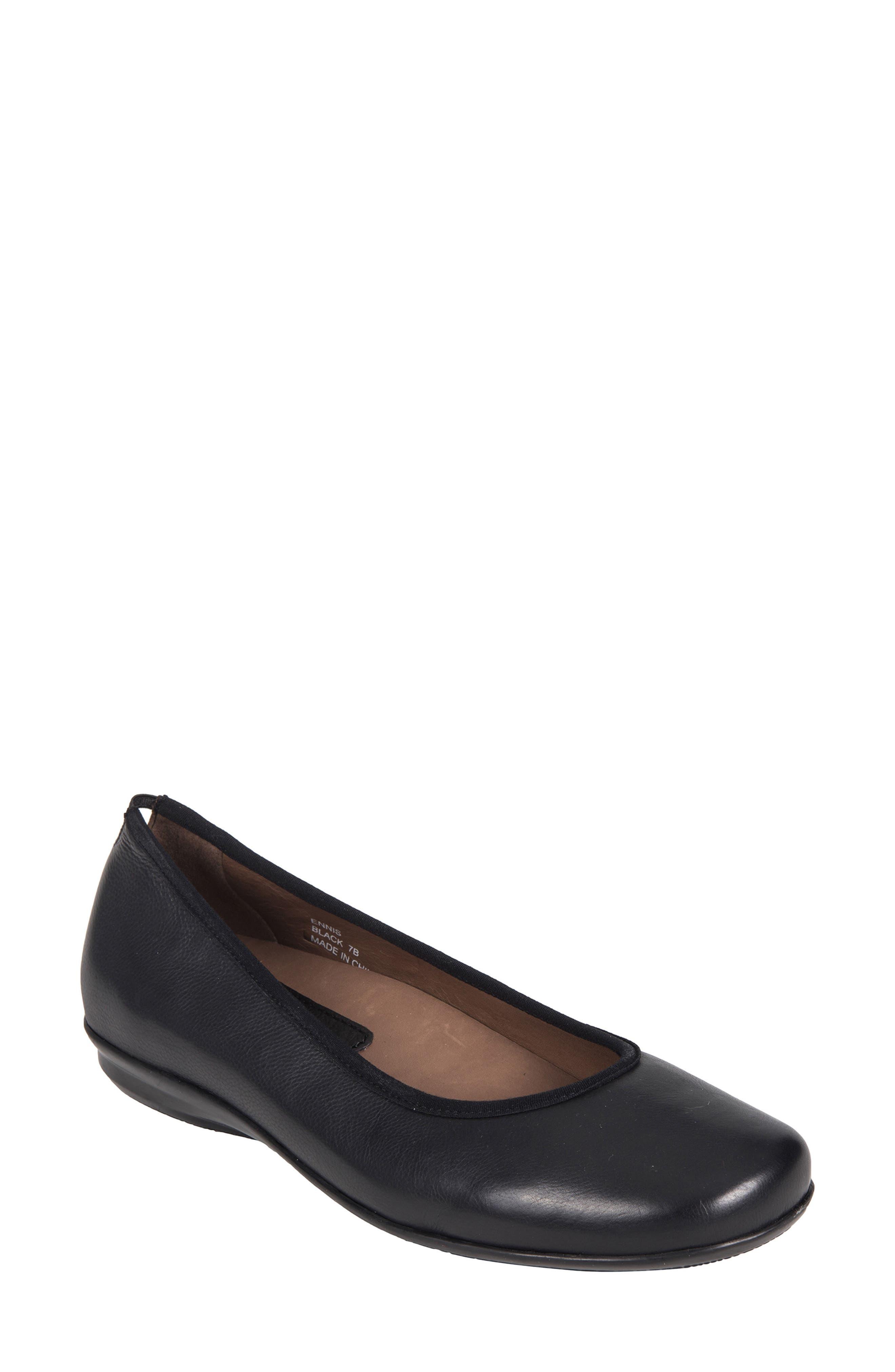 Ennis Flat,                             Main thumbnail 1, color,                             Black Leather