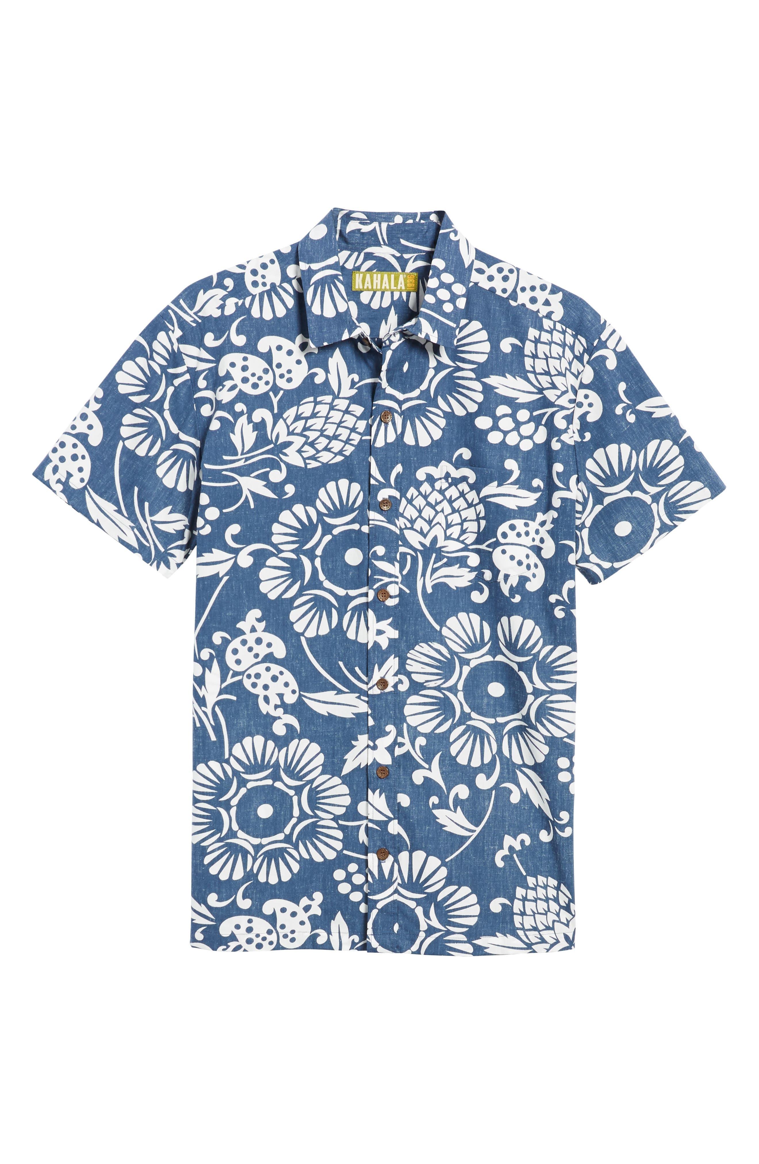 Duke's Pareo Trim Fit Sport Shirt,                             Alternate thumbnail 6, color,                             Navy