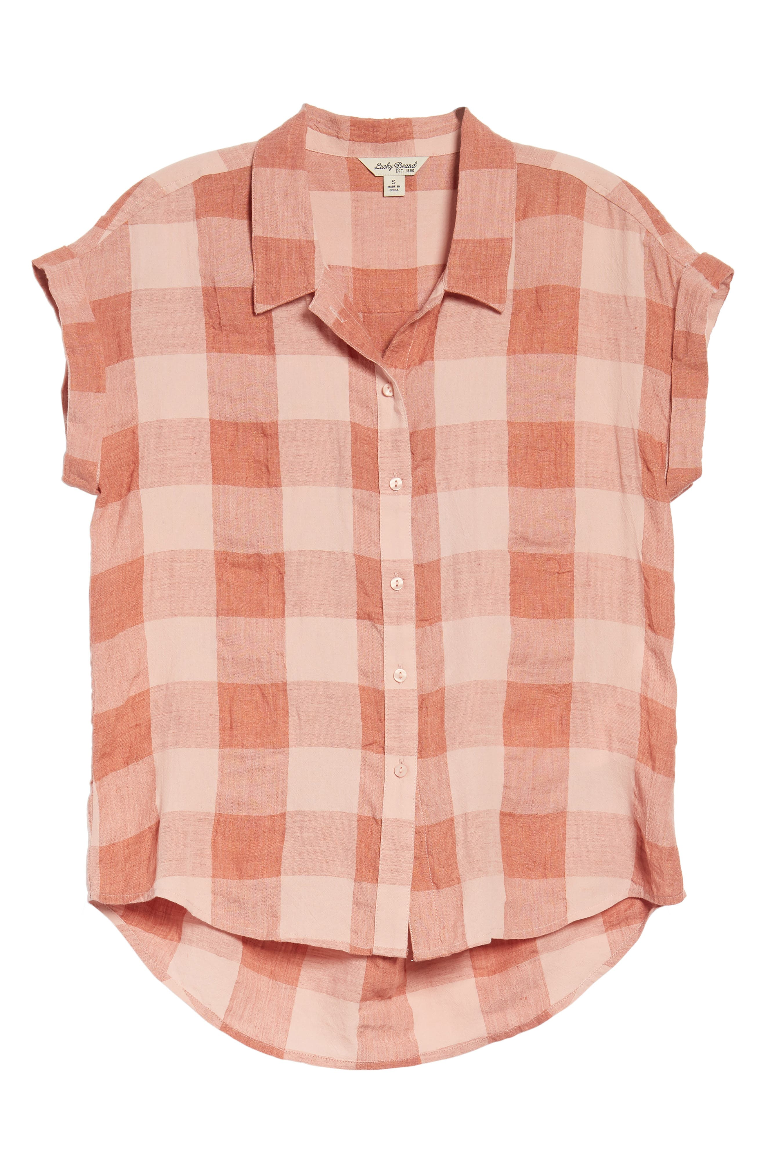 Plaid Short Sleeve High/Low Top,                             Alternate thumbnail 6, color,                             Pink Multi