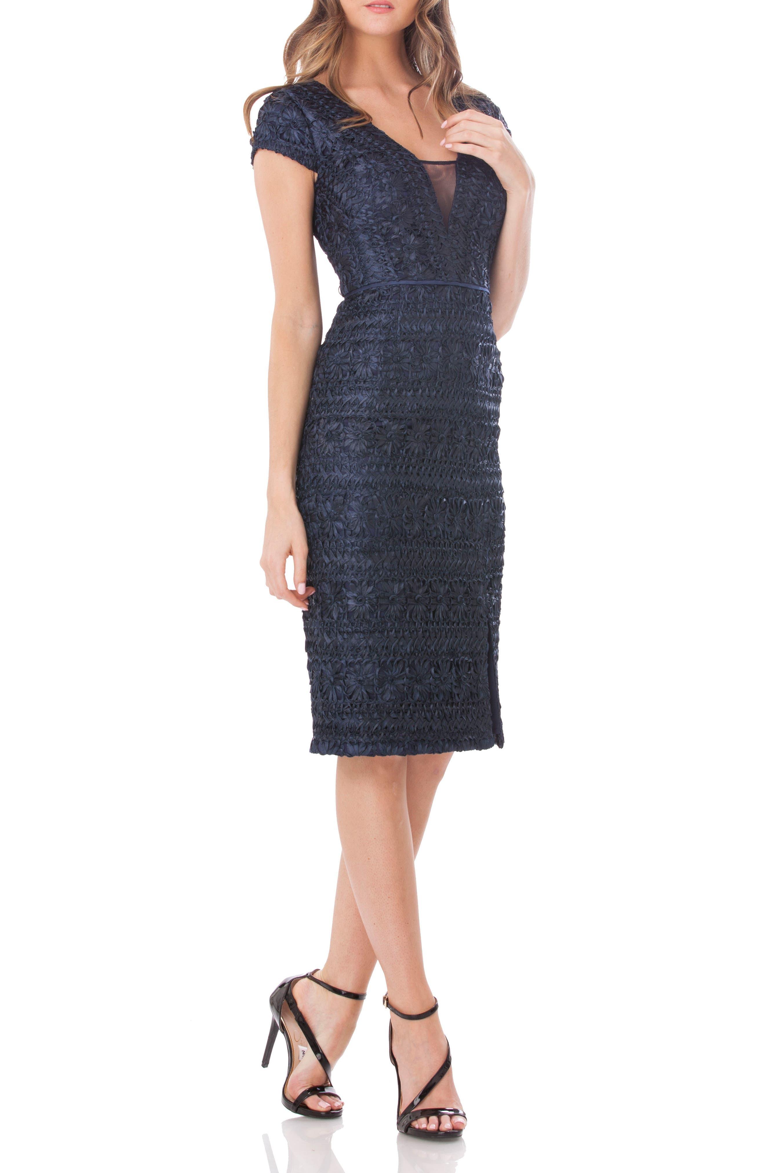 Mesh Inset Soutache Sheath Dress,                         Main,                         color, Navy
