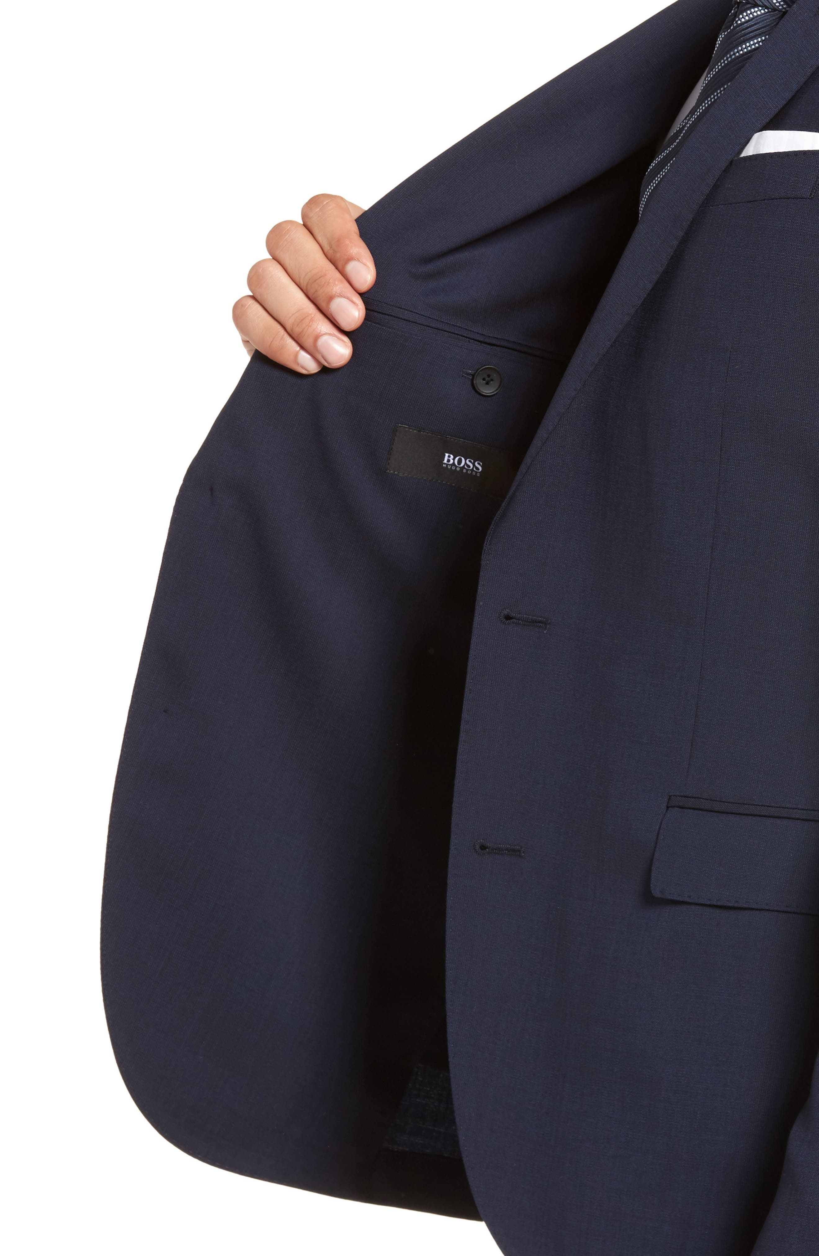 Nylen/Perry Trim Fit Solid Wool Suit,                             Alternate thumbnail 4, color,                             Navy