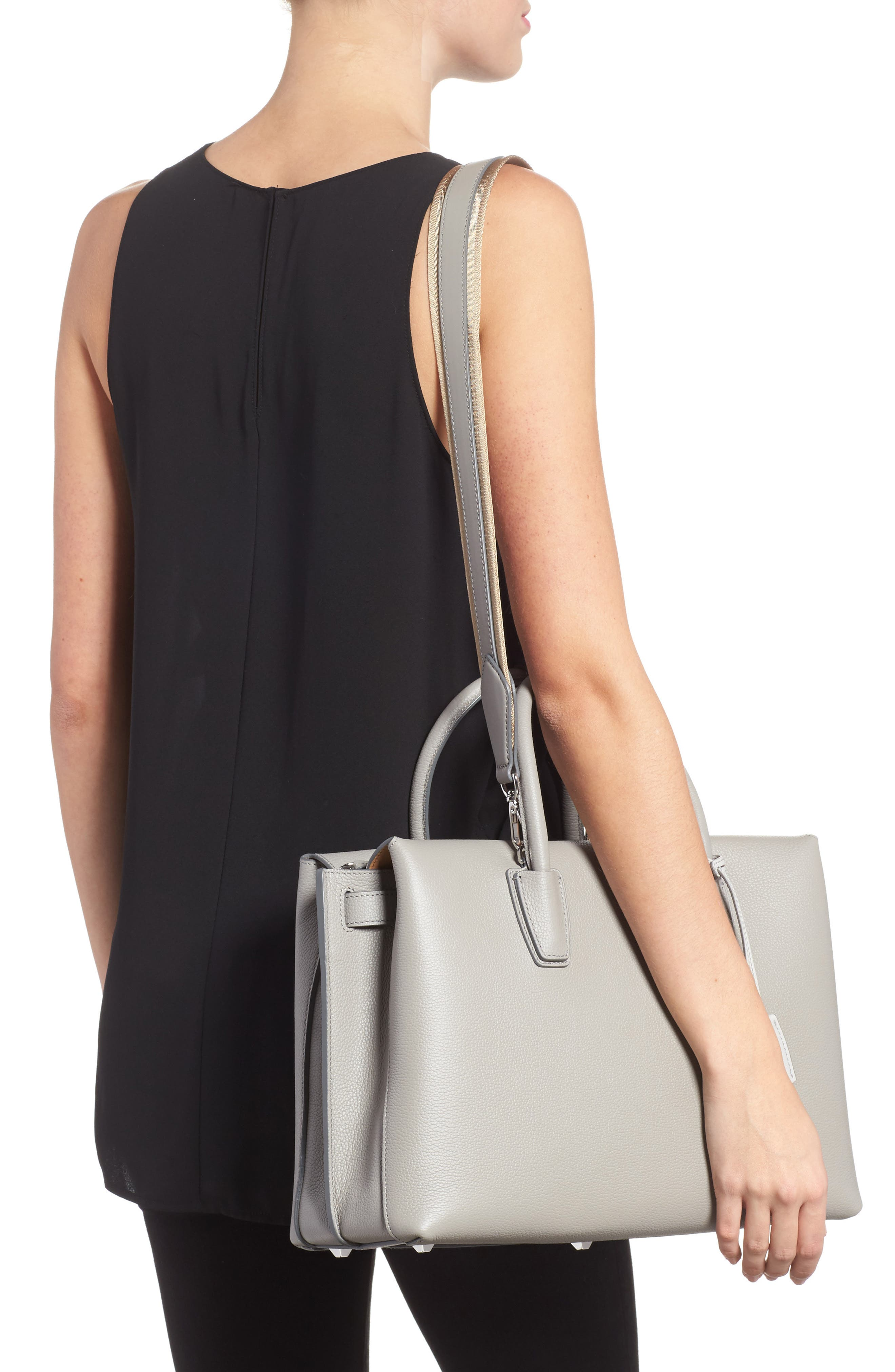 Large Milla Leather Tote,                             Alternate thumbnail 2, color,                             Arch Grey