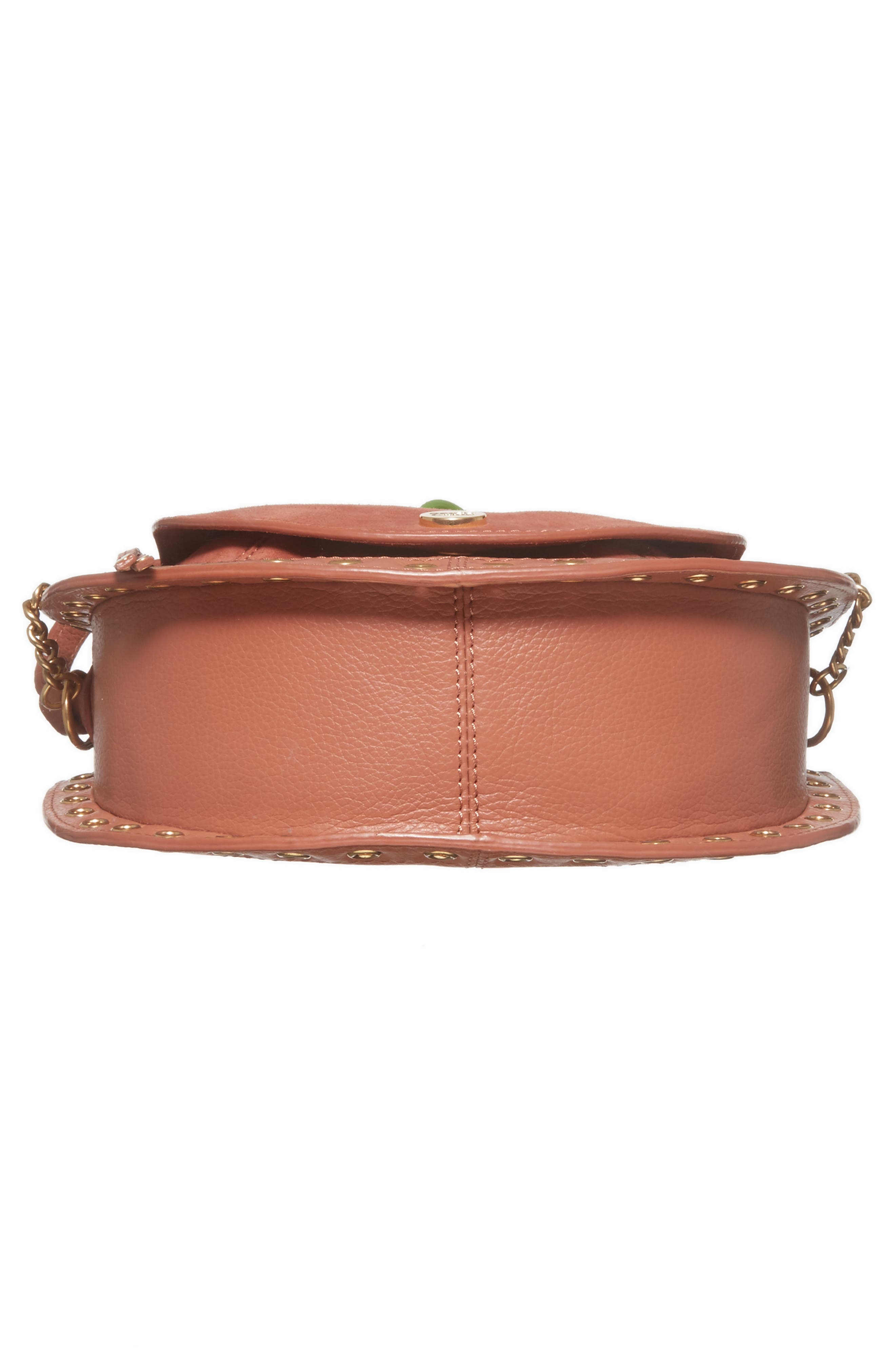 Kriss Leather & Suede Grommet Shoulder Bag,                             Alternate thumbnail 6, color,                             Cheek