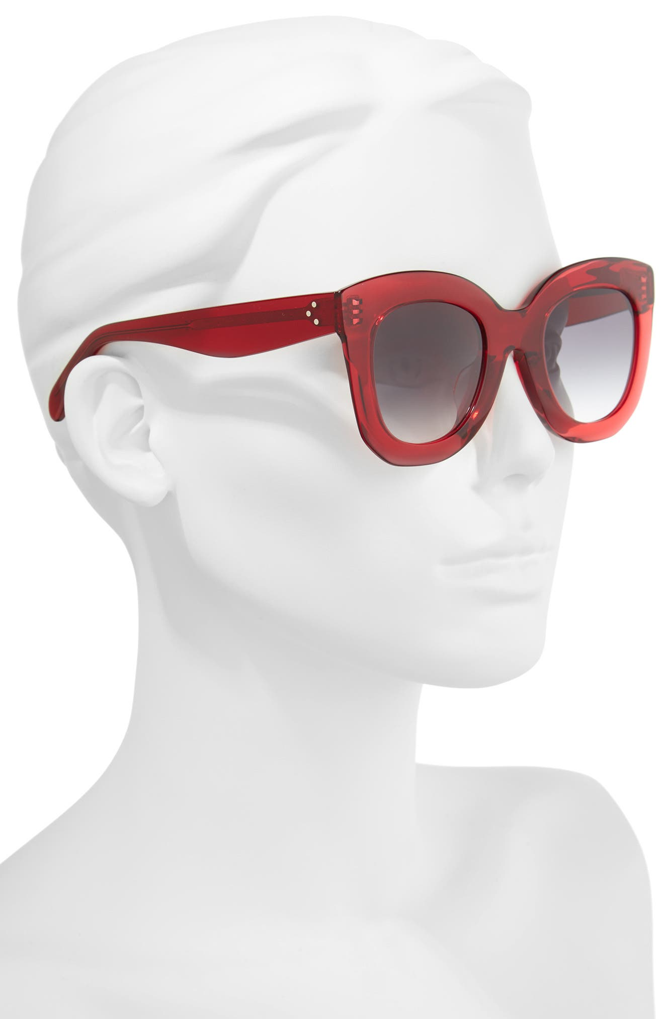 Special Fit 49mm Cat Eye Sunglasses,                             Alternate thumbnail 2, color,                             Red/ Smoke