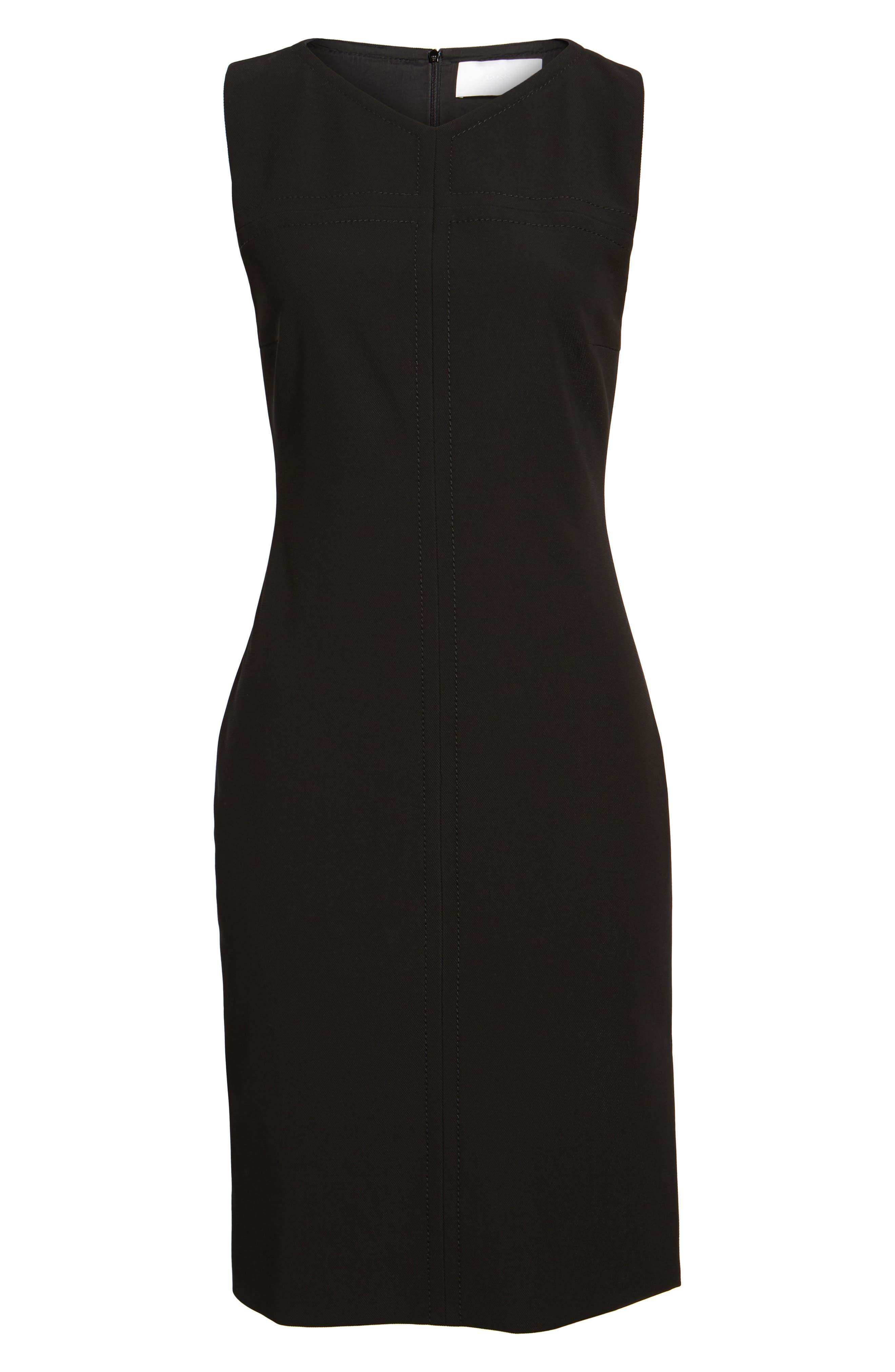 Dilamena Crepe Sheath Dress,                             Alternate thumbnail 6, color,                             Black