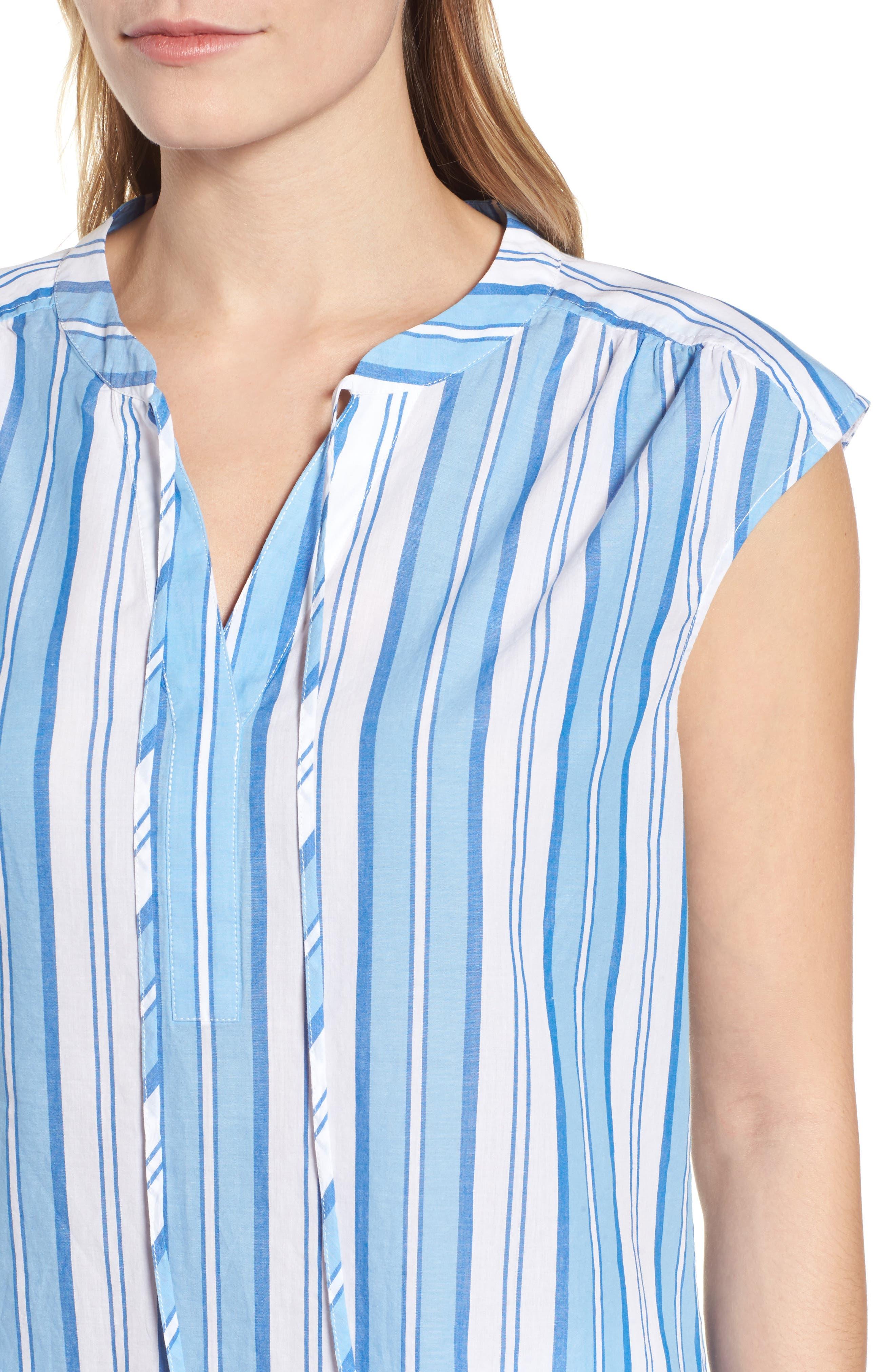 Ocean Stripe Cap Sleeve Popover Top,                             Alternate thumbnail 4, color,                             Blue Jay