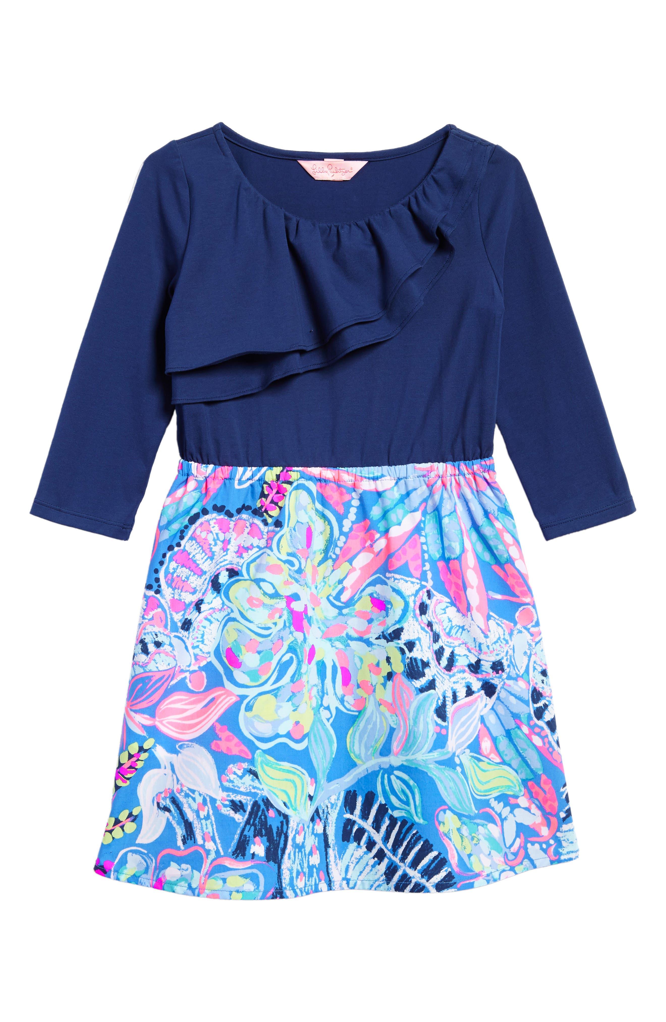 Hazel Fit & Flare Dress,                             Main thumbnail 1, color,                             Multi Fantasea Garden