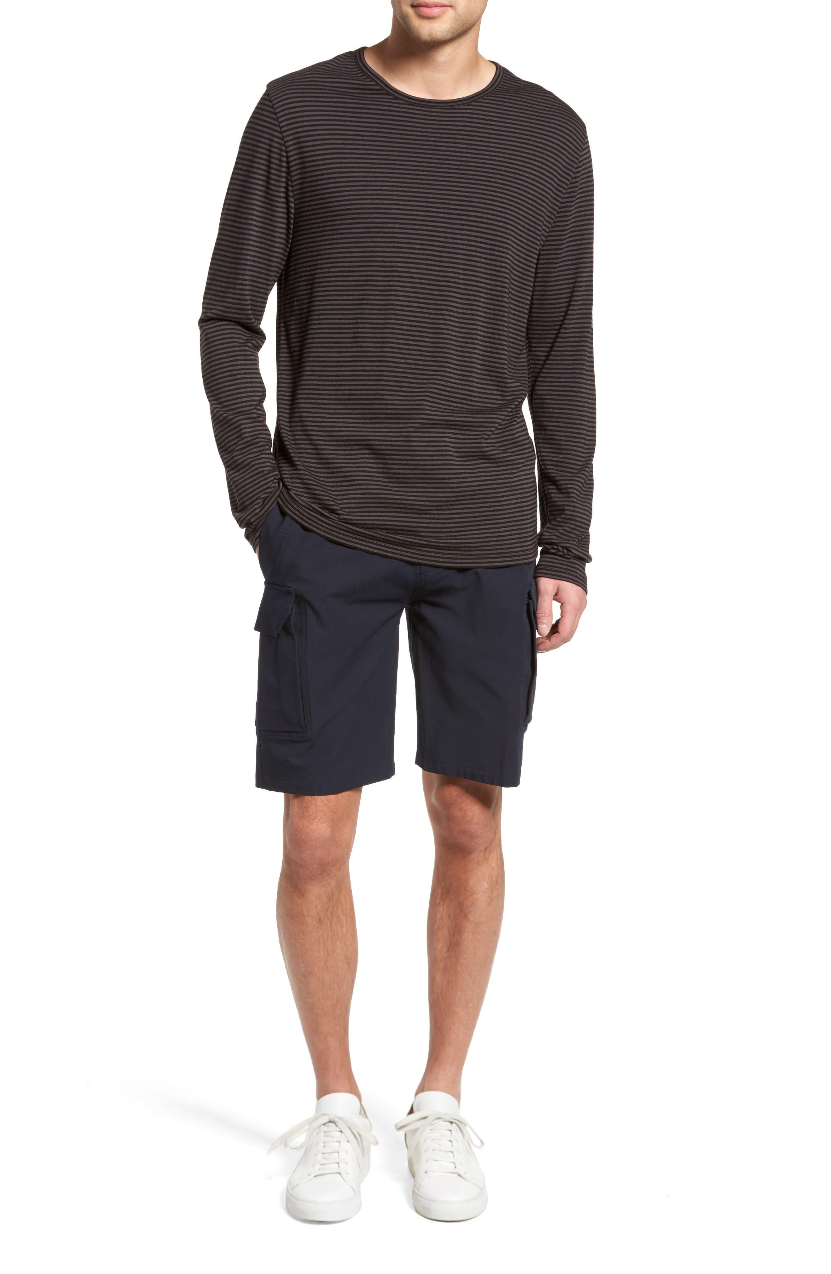 Feeder Stripe Long Sleeve Shirt,                             Alternate thumbnail 7, color,                             Black/ Stone Grey