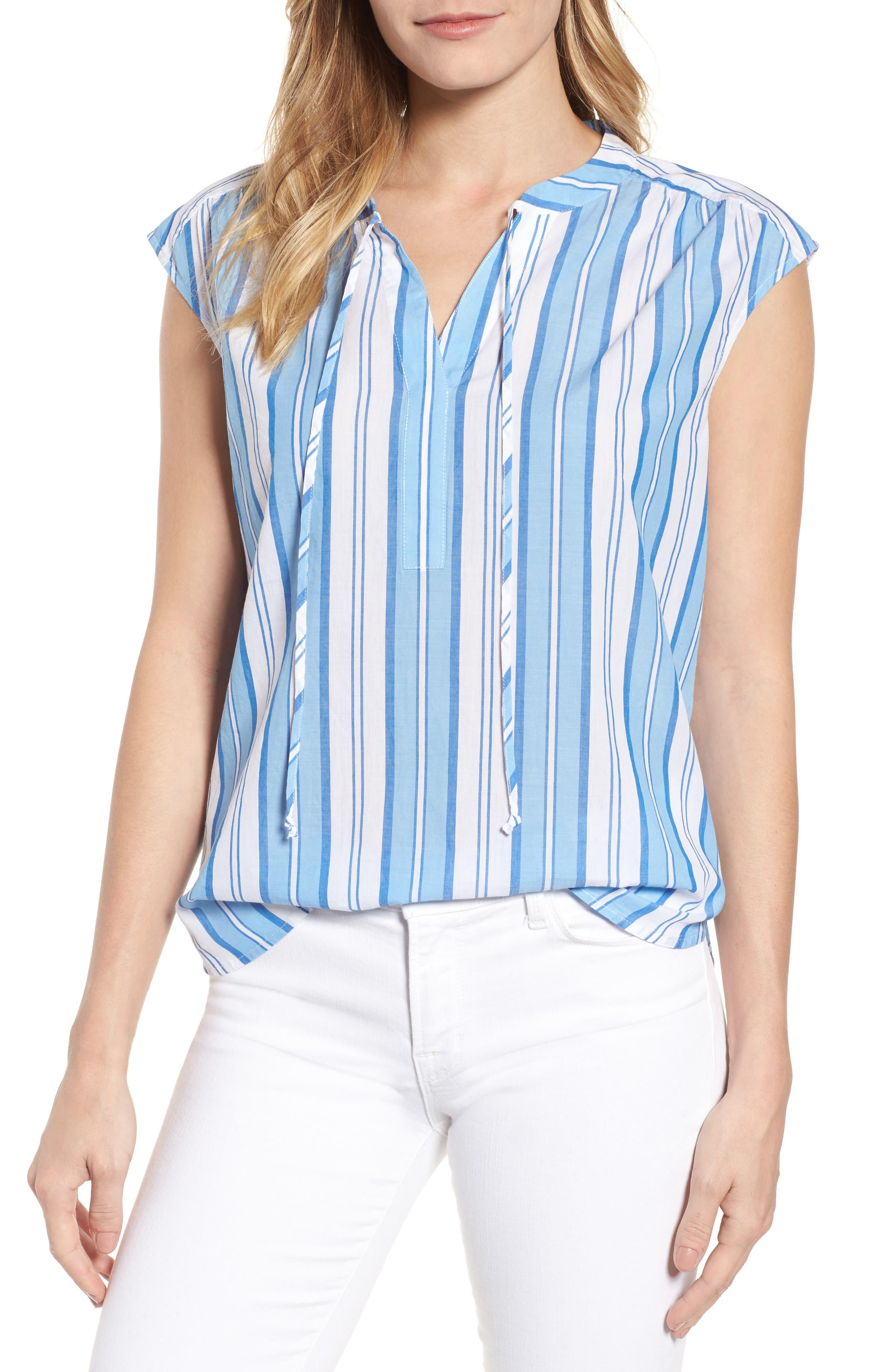 Ocean Stripe Cap Sleeve Popover Top,                         Main,                         color, Blue Jay