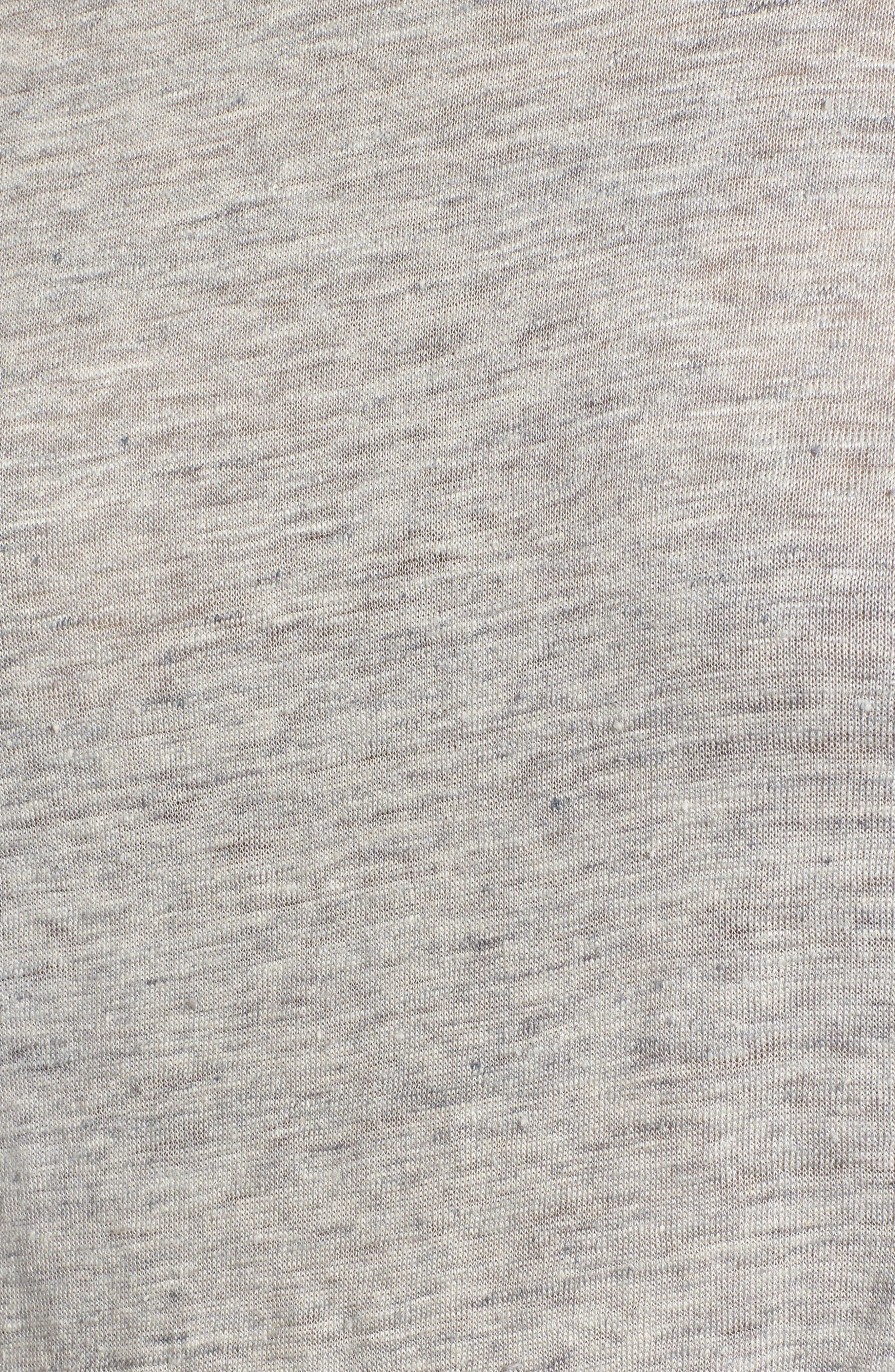 Ruffle Linen Tee,                             Alternate thumbnail 5, color,                             Grey Heather Combo