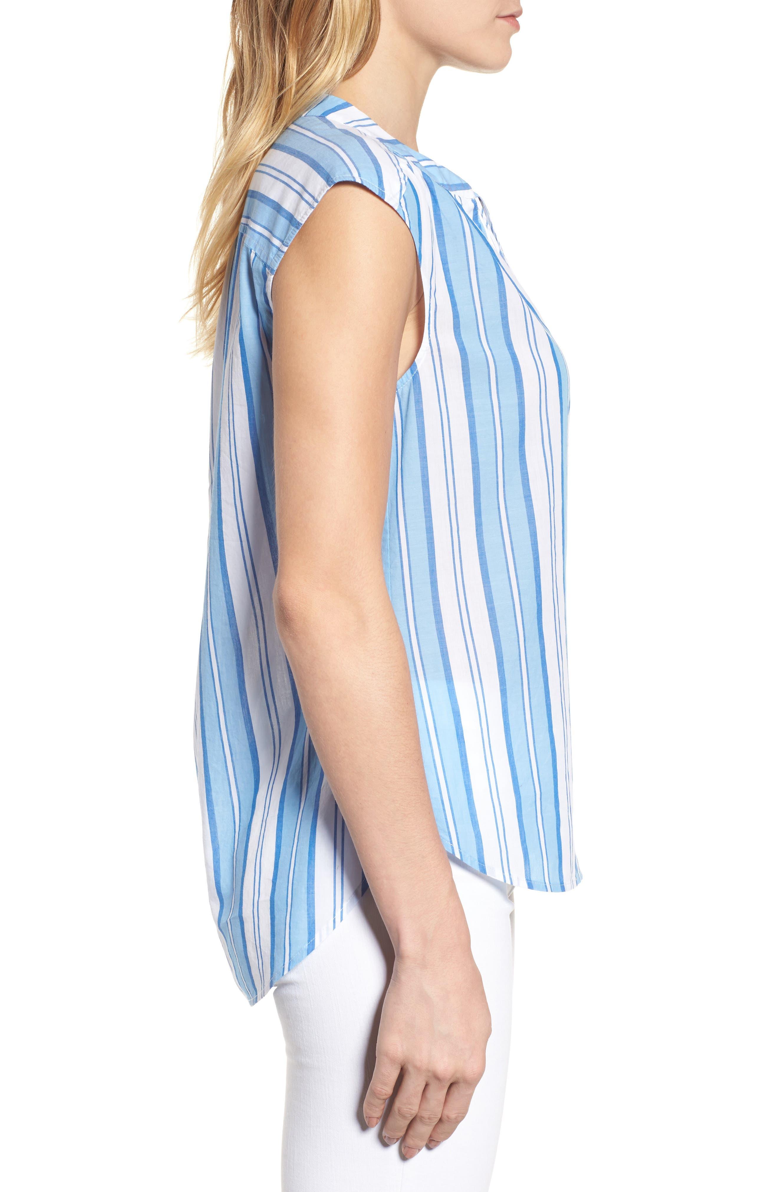 Ocean Stripe Cap Sleeve Popover Top,                             Alternate thumbnail 3, color,                             Blue Jay