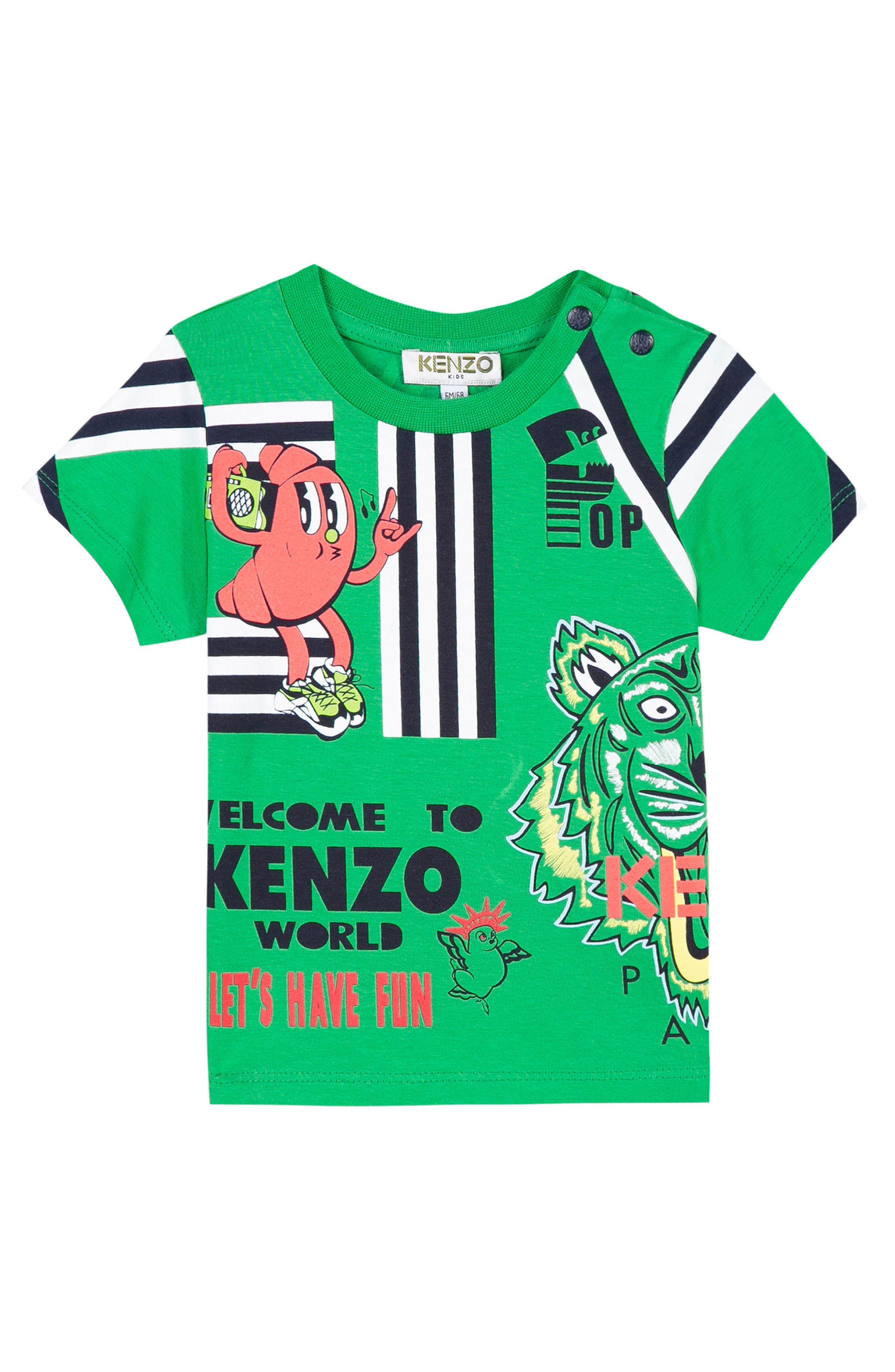 Cartoon Graphic T-Shirt,                         Main,                         color, Green