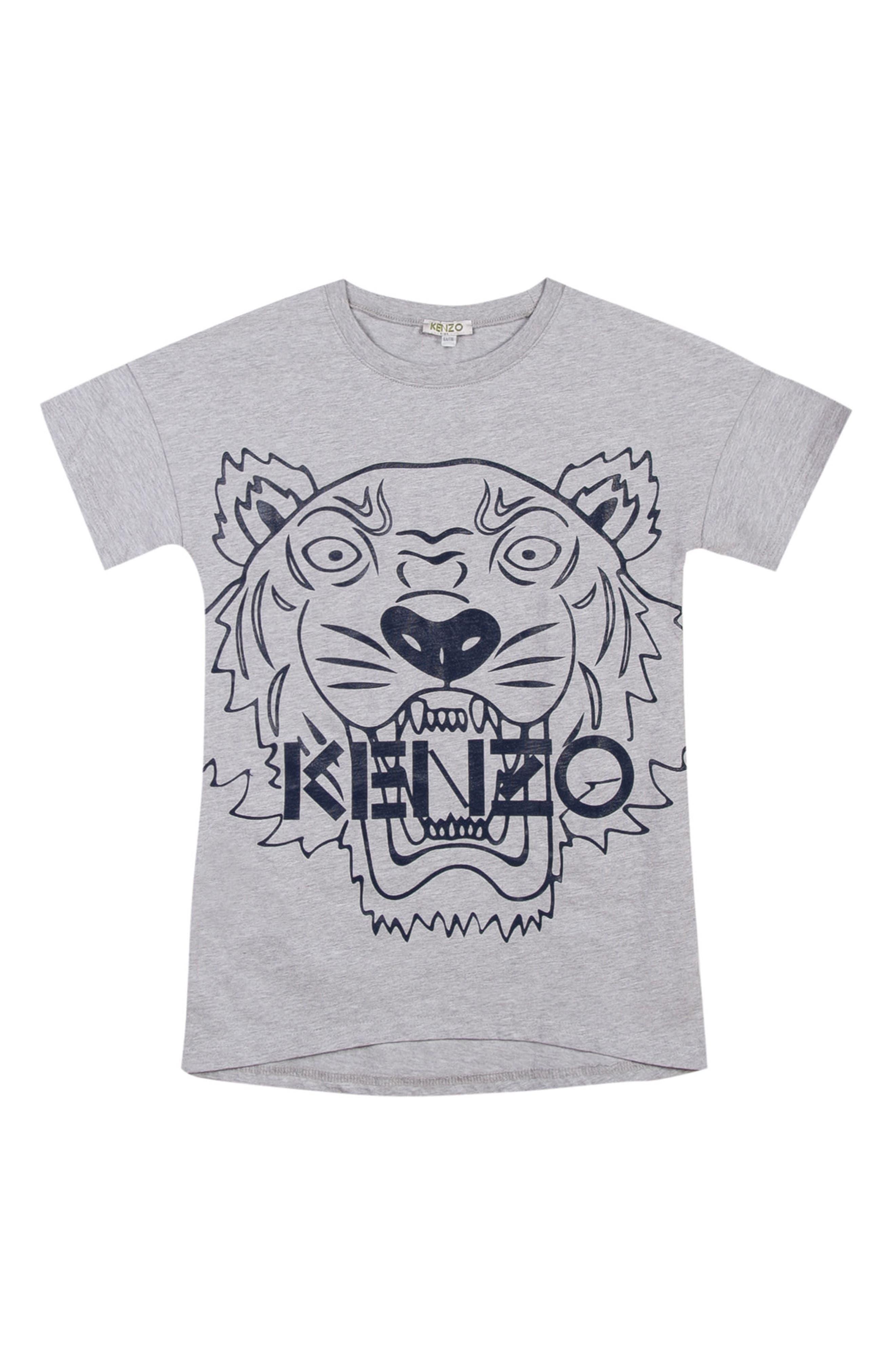 Tiger Graphic T-Shirt Dress,                             Main thumbnail 1, color,                             Marl Grey