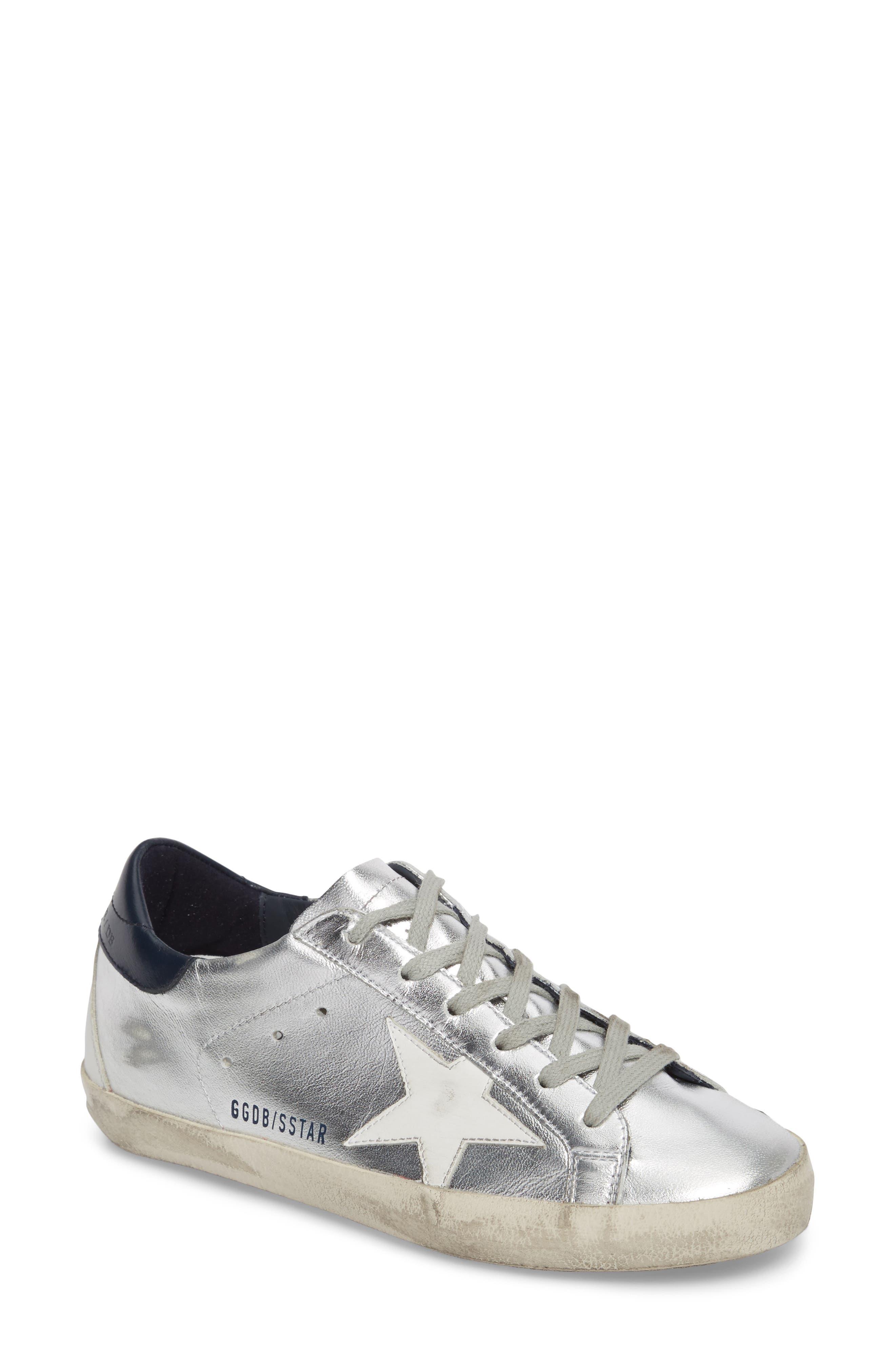 Superstar Metallic Low Top Sneaker,                         Main,                         color, Silver