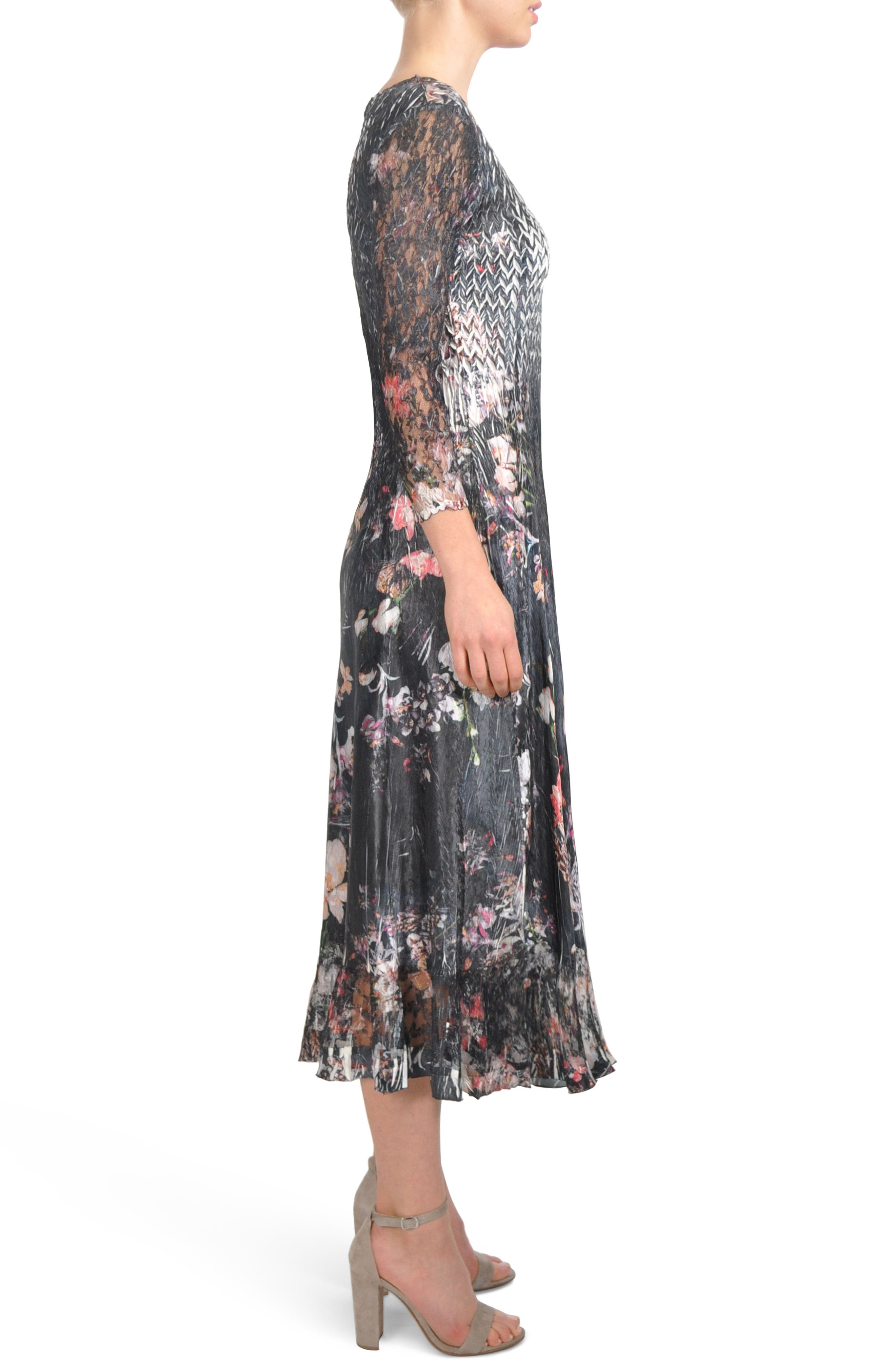 Floral A-Line Midi Dress,                             Alternate thumbnail 3, color,                             Midnight Fleur