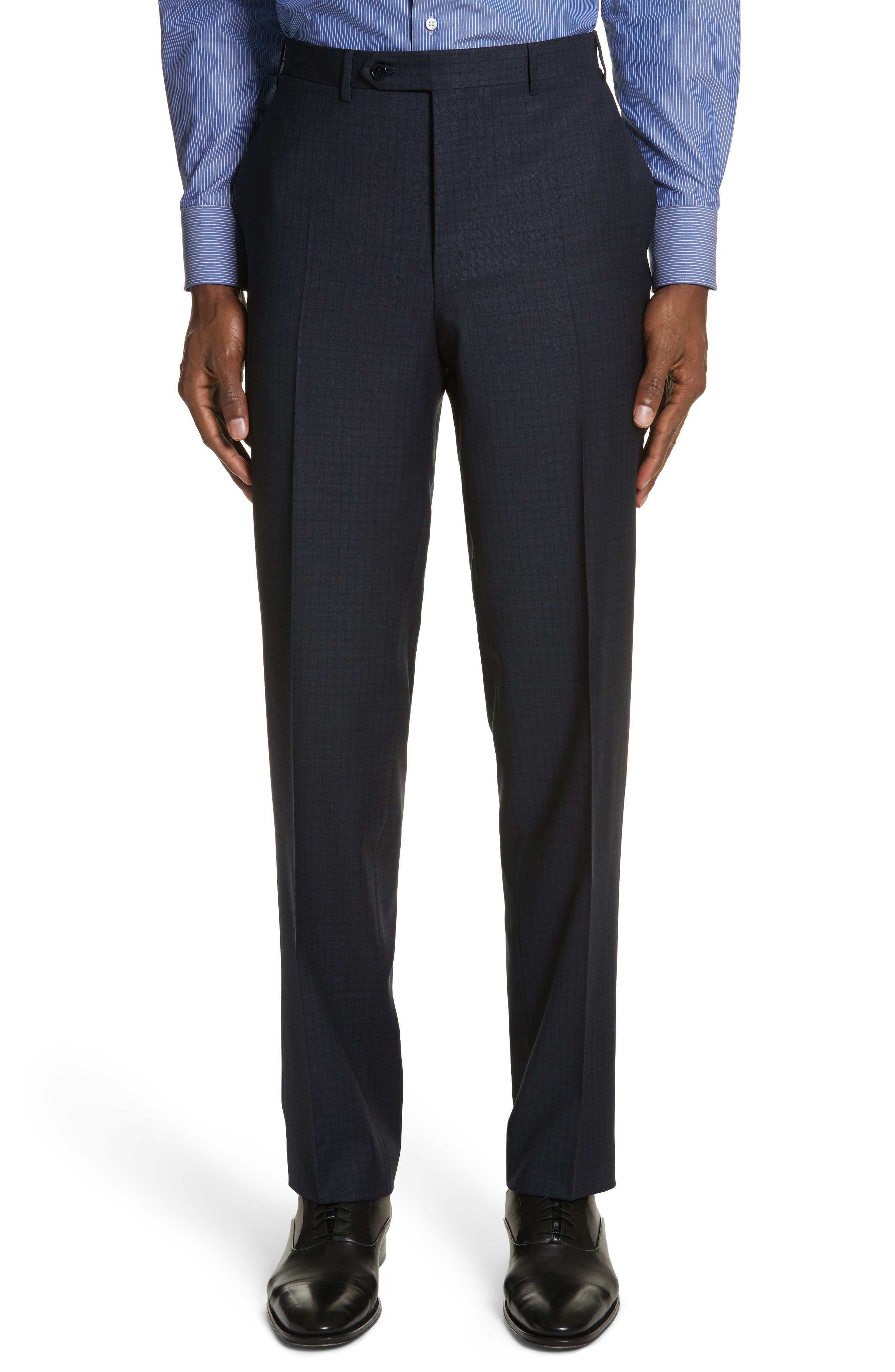 Classic Fit Check Wool Suit,                             Alternate thumbnail 6, color,                             Navy