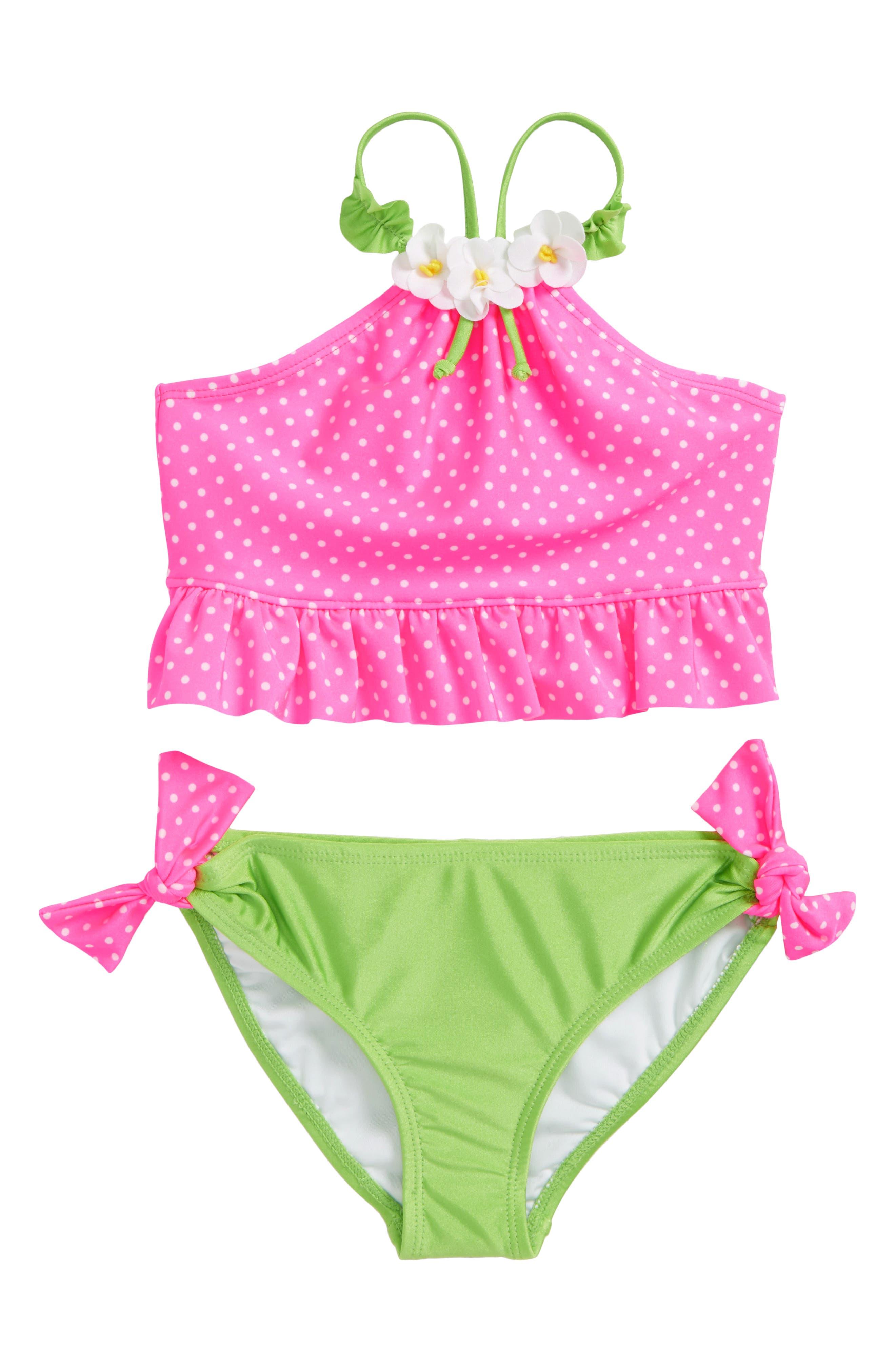Main Image - Love U Lots Dot Halter Two-Piece Swimsuit (Toddler Girls & Little Girls)