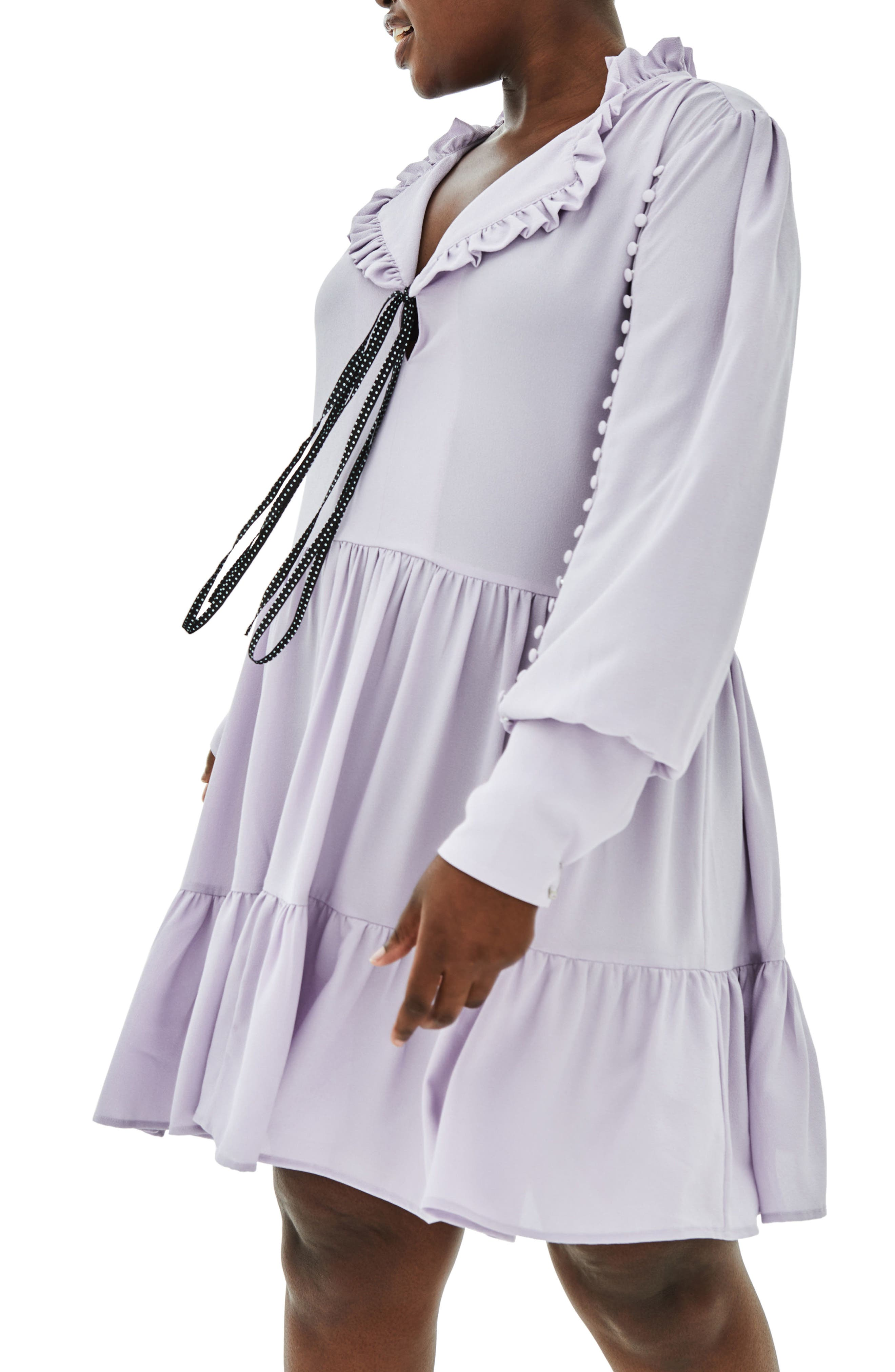 The Poe Rouleau Sleeve Tiered Dress,                             Alternate thumbnail 3, color,                             Purple