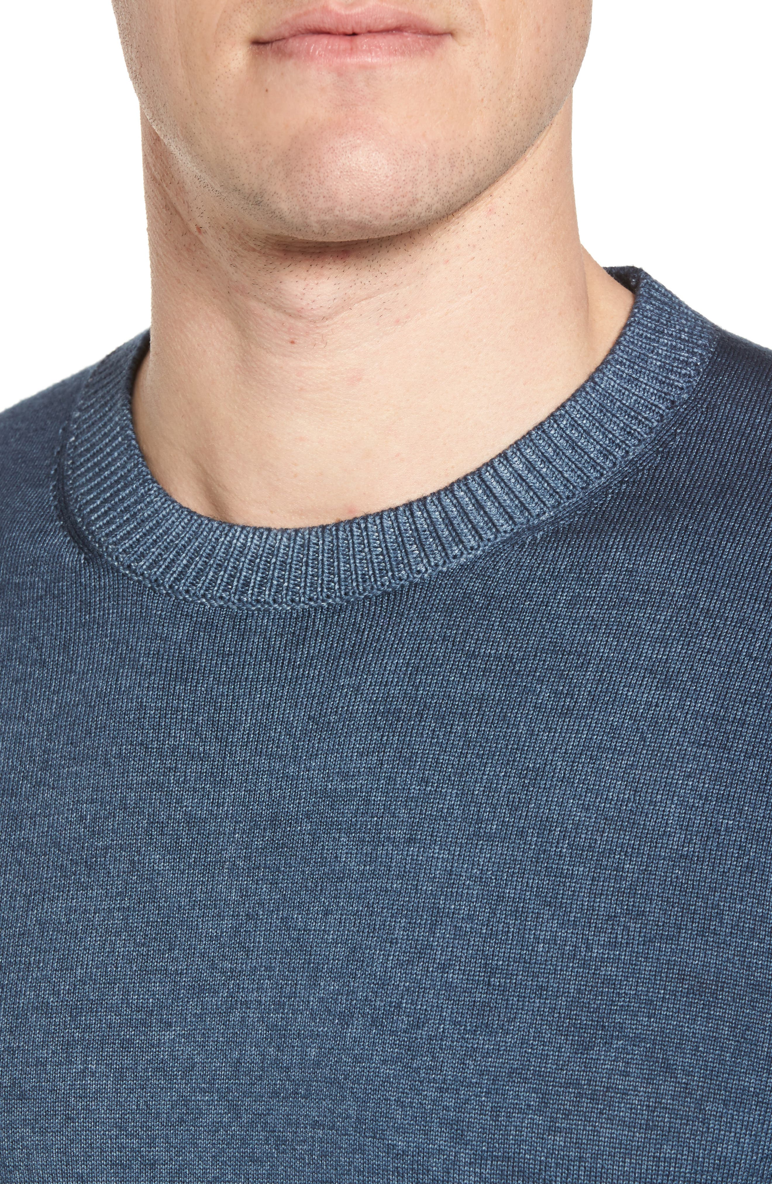 Lucky Trim Fit Wool Sweater,                             Alternate thumbnail 4, color,                             Mid Blue