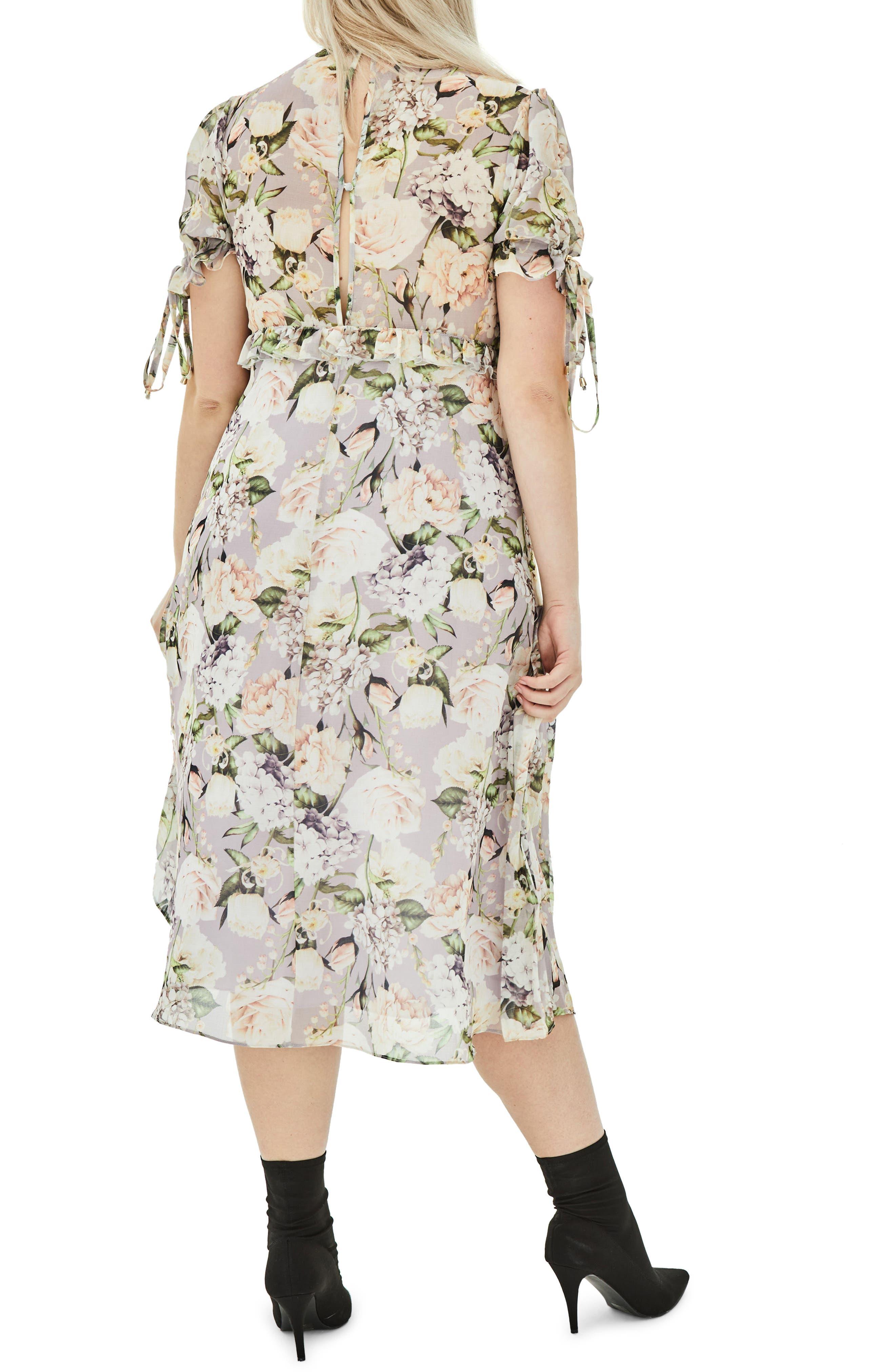 The Sweet Pea Floral Midi Dress,                             Alternate thumbnail 2, color,                             Purple
