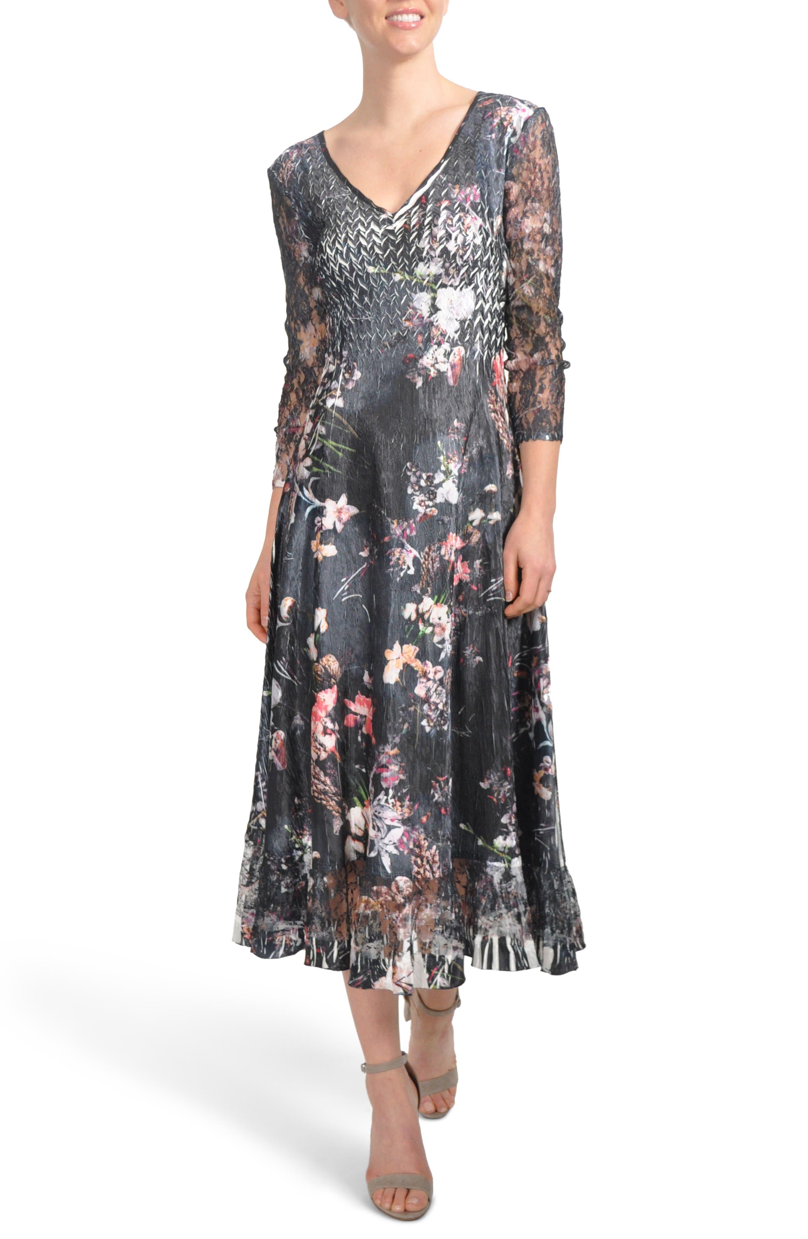 Floral A-Line Midi Dress,                             Main thumbnail 1, color,                             Midnight Fleur