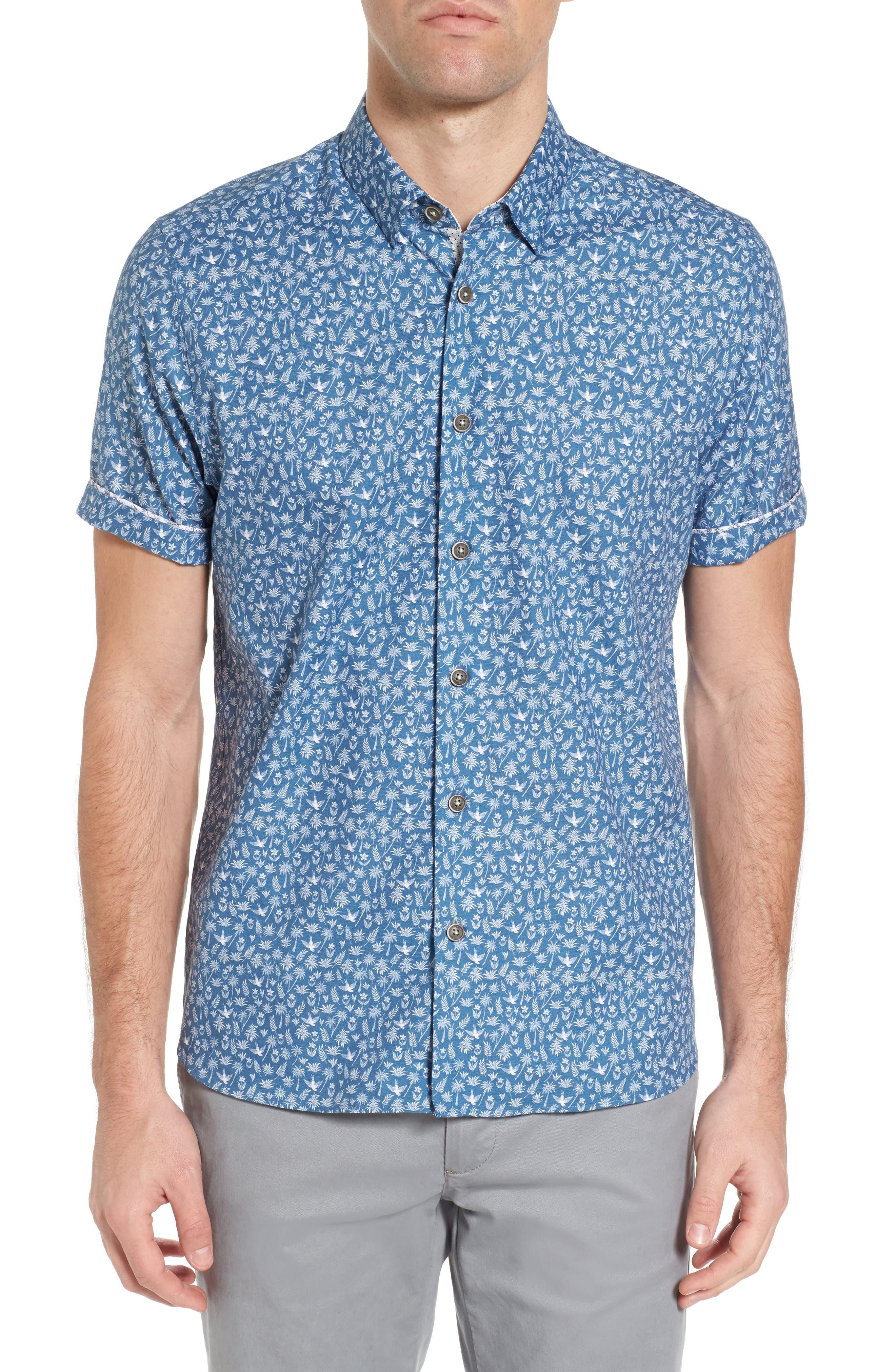 Pazta Tropic Print Shirt,                             Main thumbnail 1, color,                             Blue