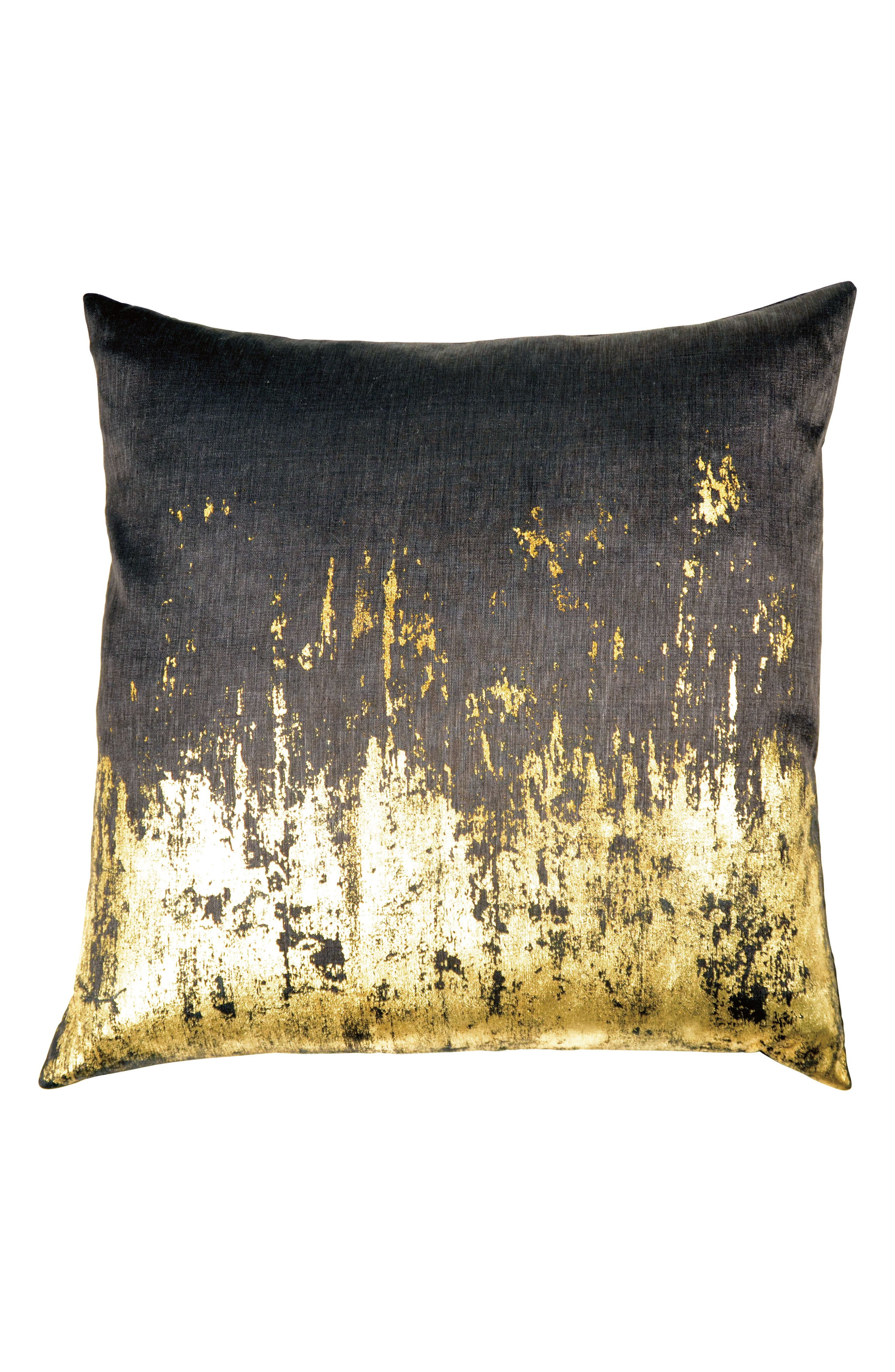 Distressed Metallic Accent Pillow,                         Main,                         color, Chocolate