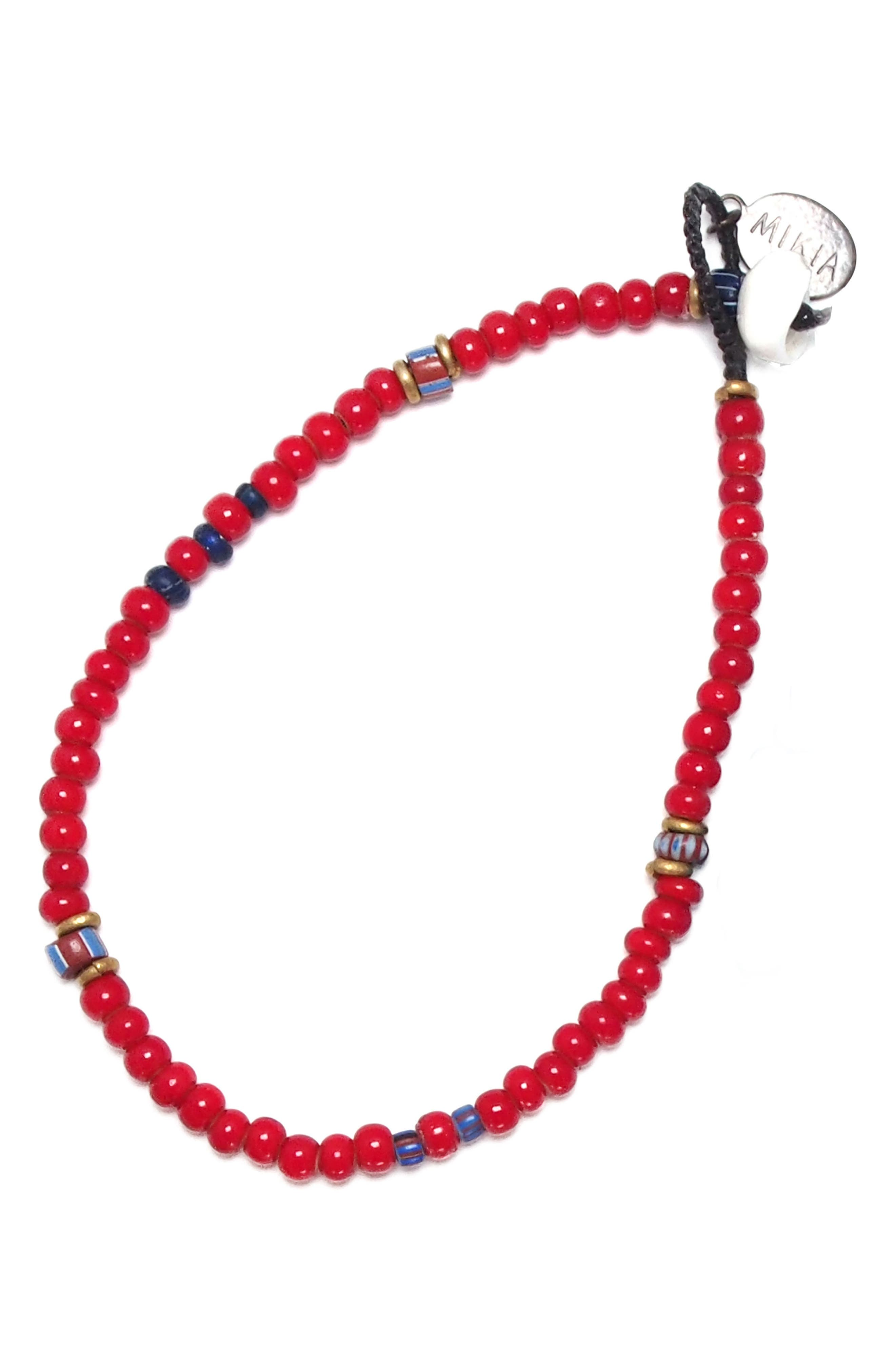 White Hearts Bead Bracelet,                             Main thumbnail 1, color,                             Red