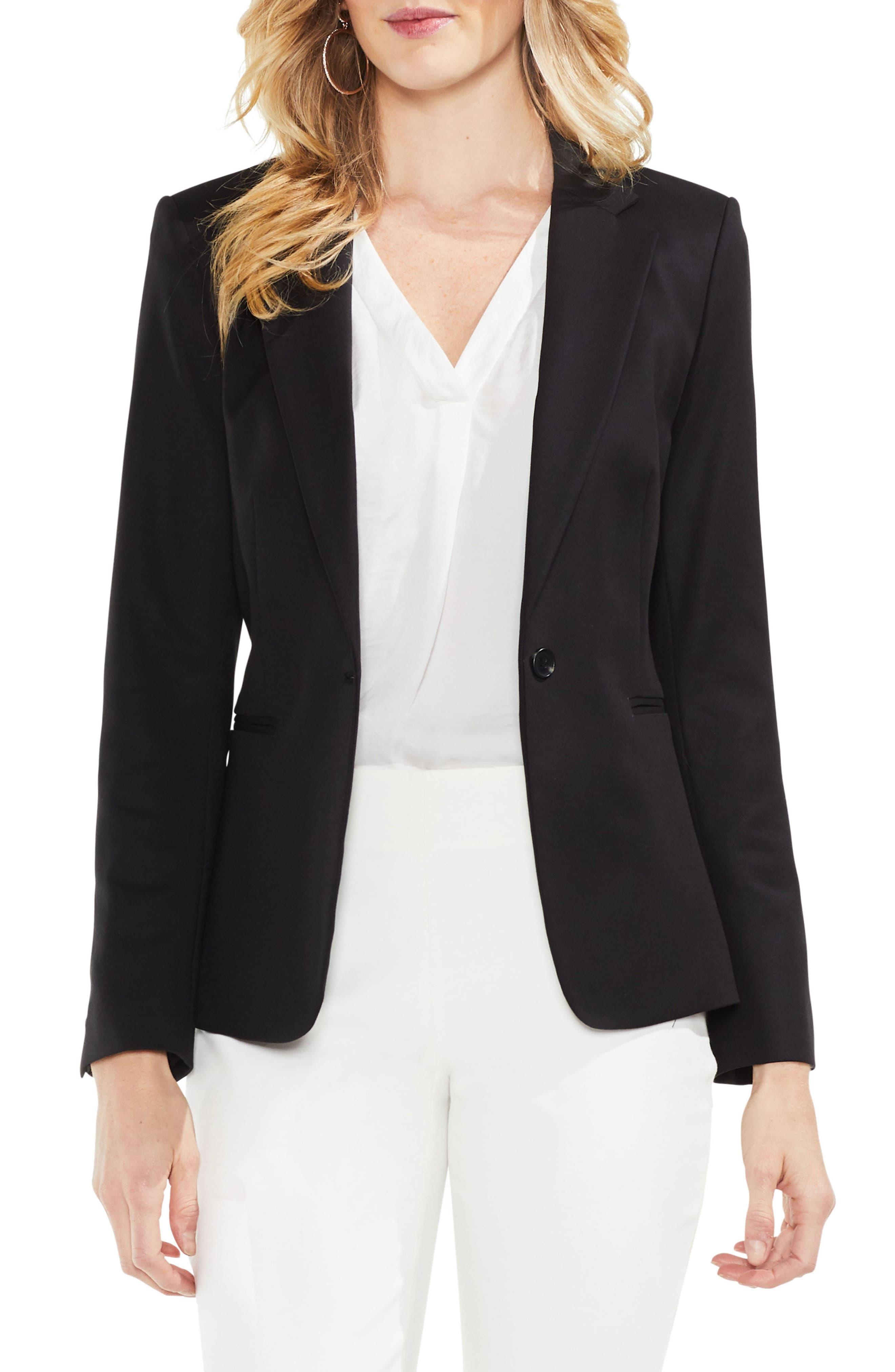 Lace-Up Back Double Weave Blazer,                         Main,                         color, Rich Black