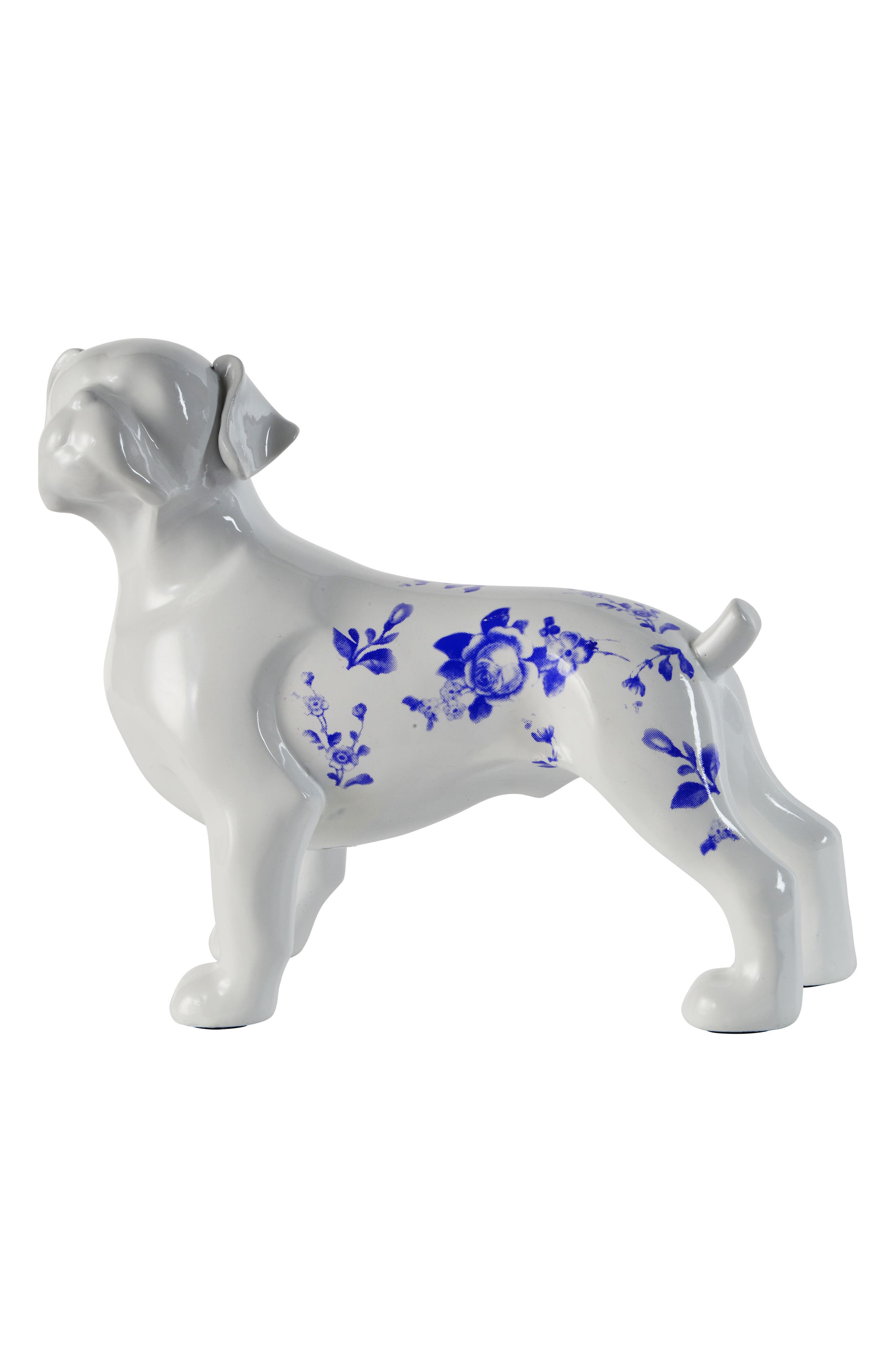French Dog Statue,                             Main thumbnail 1, color,                             White And Blue