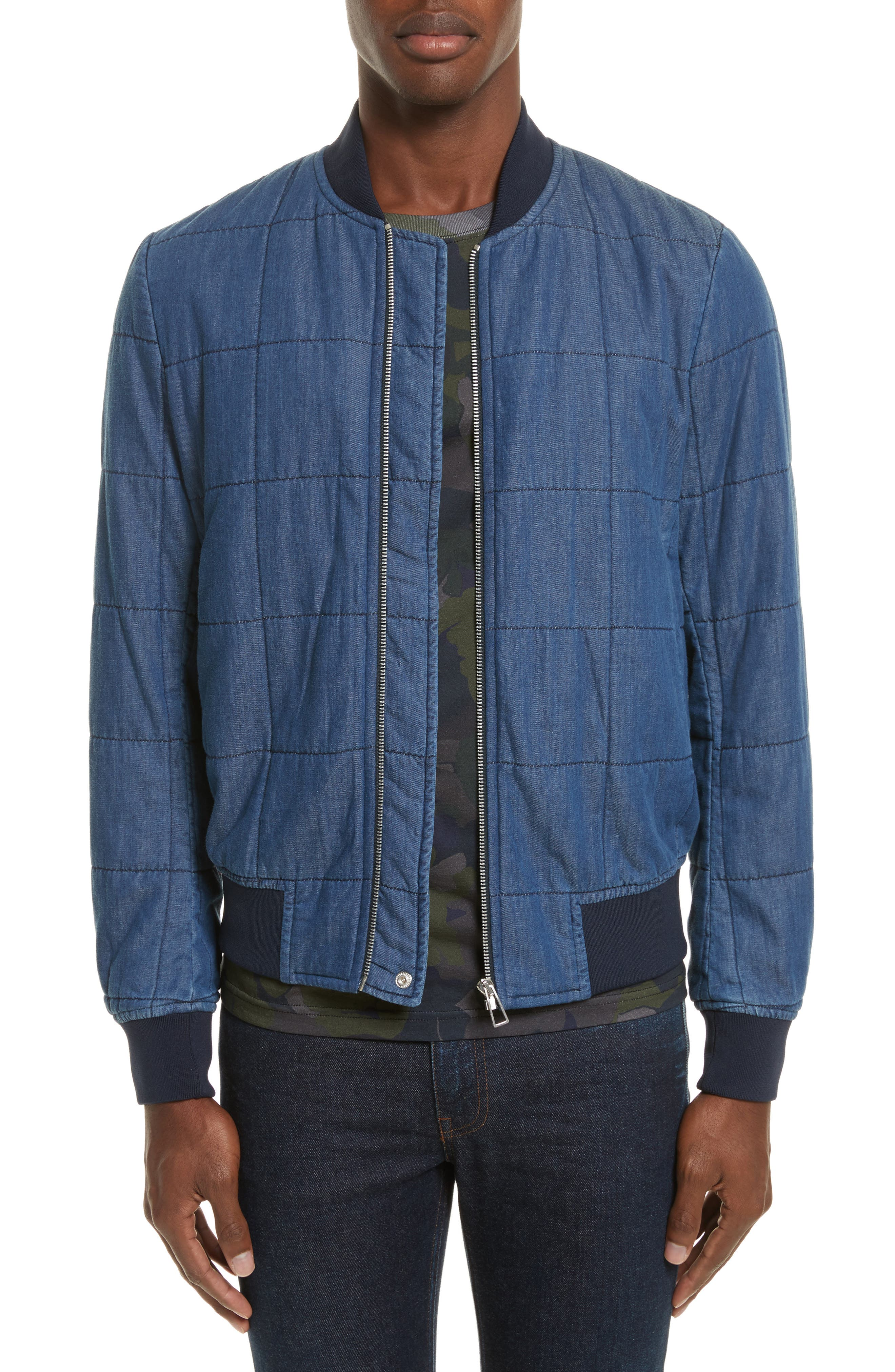 Quilted Bomber Jacket,                         Main,                         color, Medium Blue