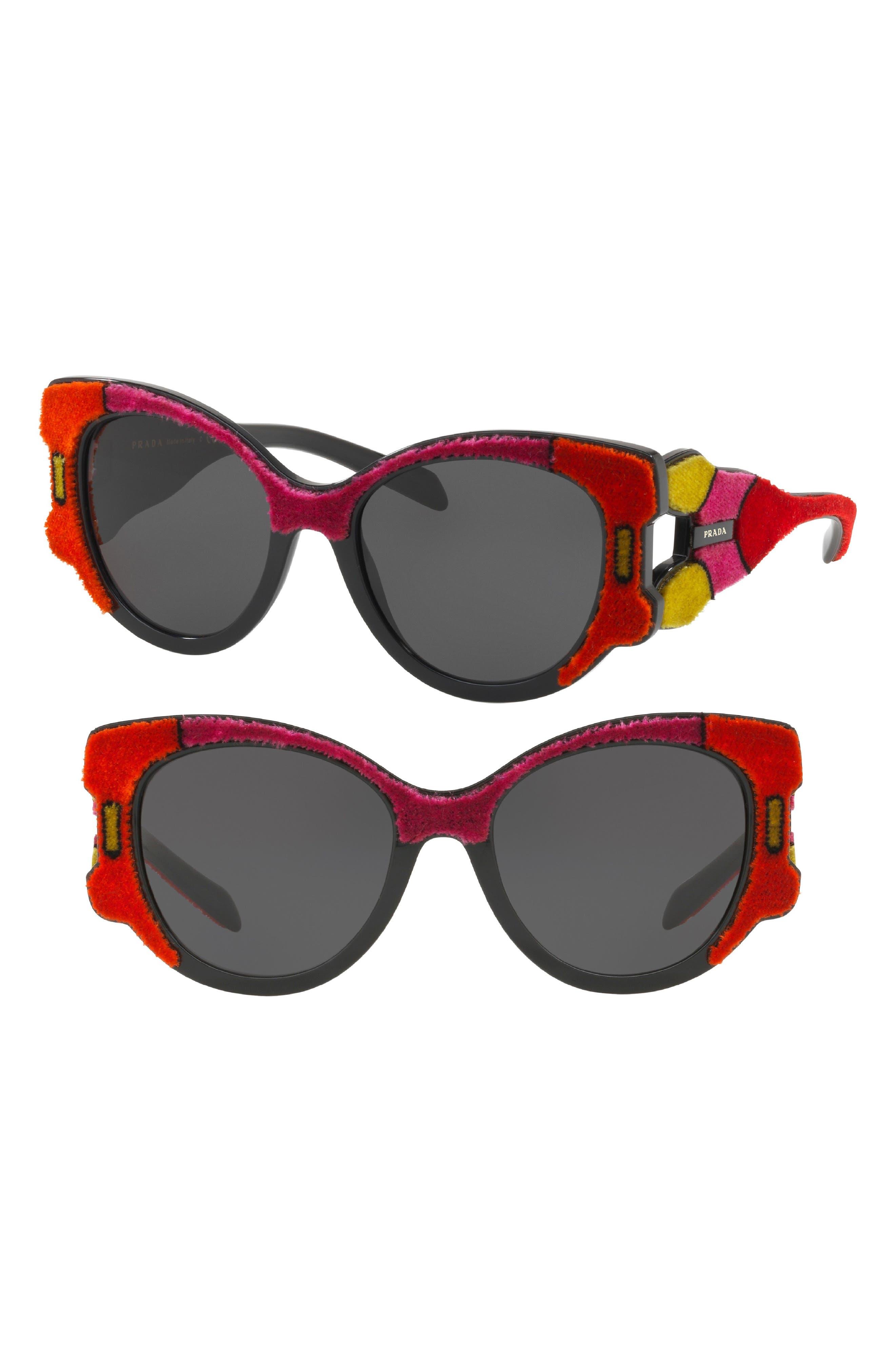 Main Image - Prada 54mm Colorblock Round Sunglasses