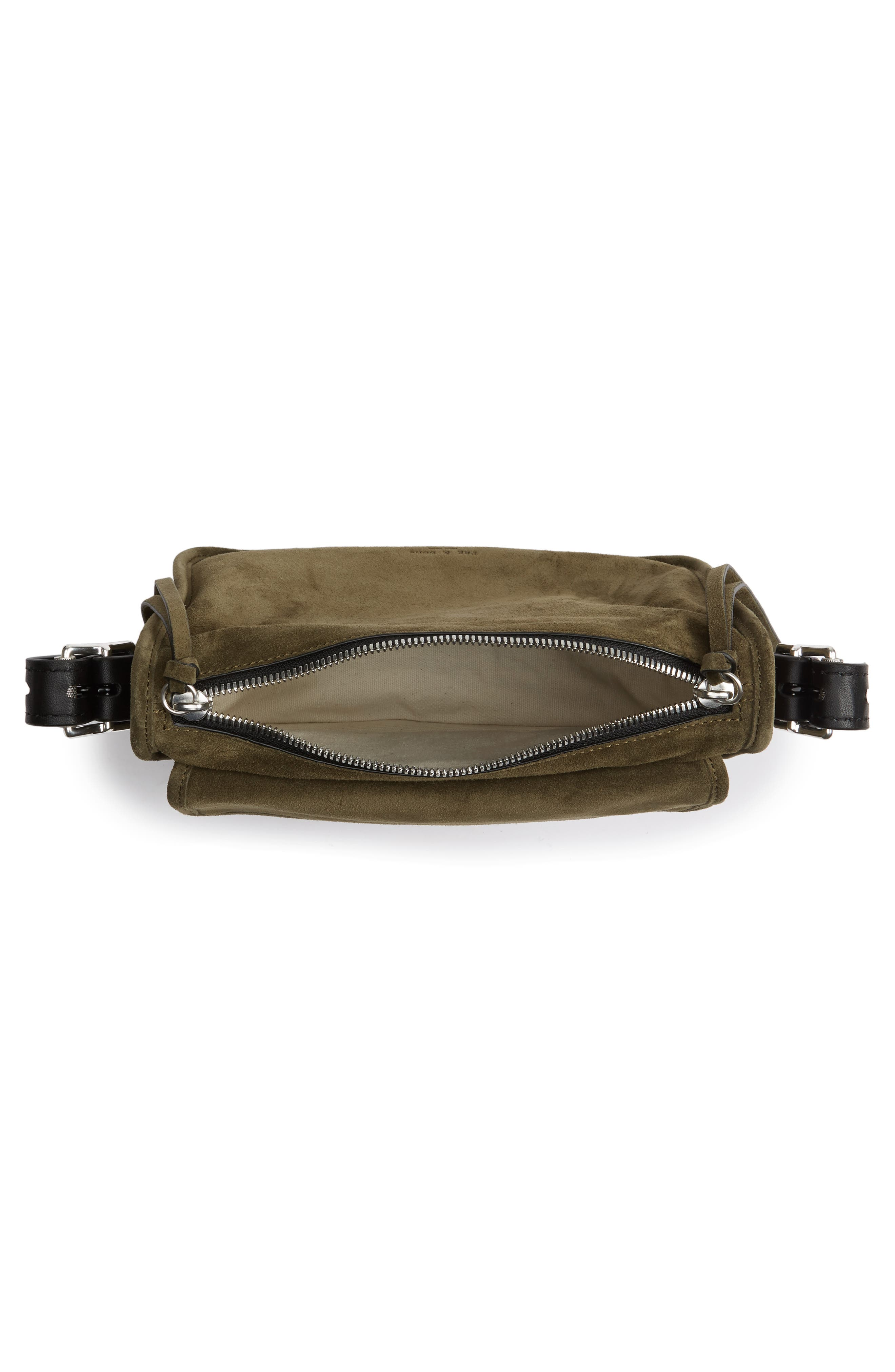 Small Leather Field Messenger Bag,                             Alternate thumbnail 4, color,                             Olive Suede