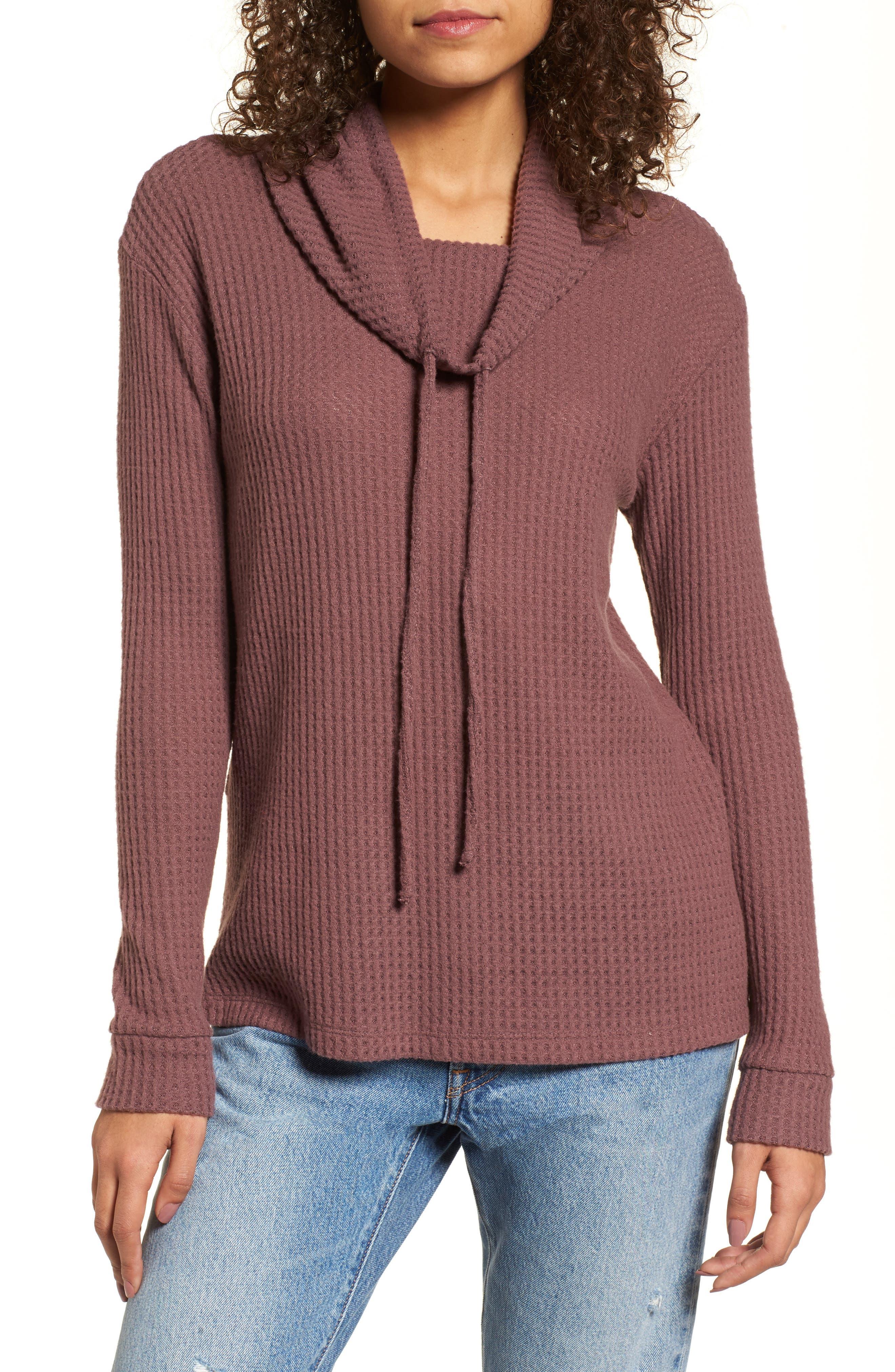Cowl Neck Waffle Knit Top,                         Main,                         color, Mauve