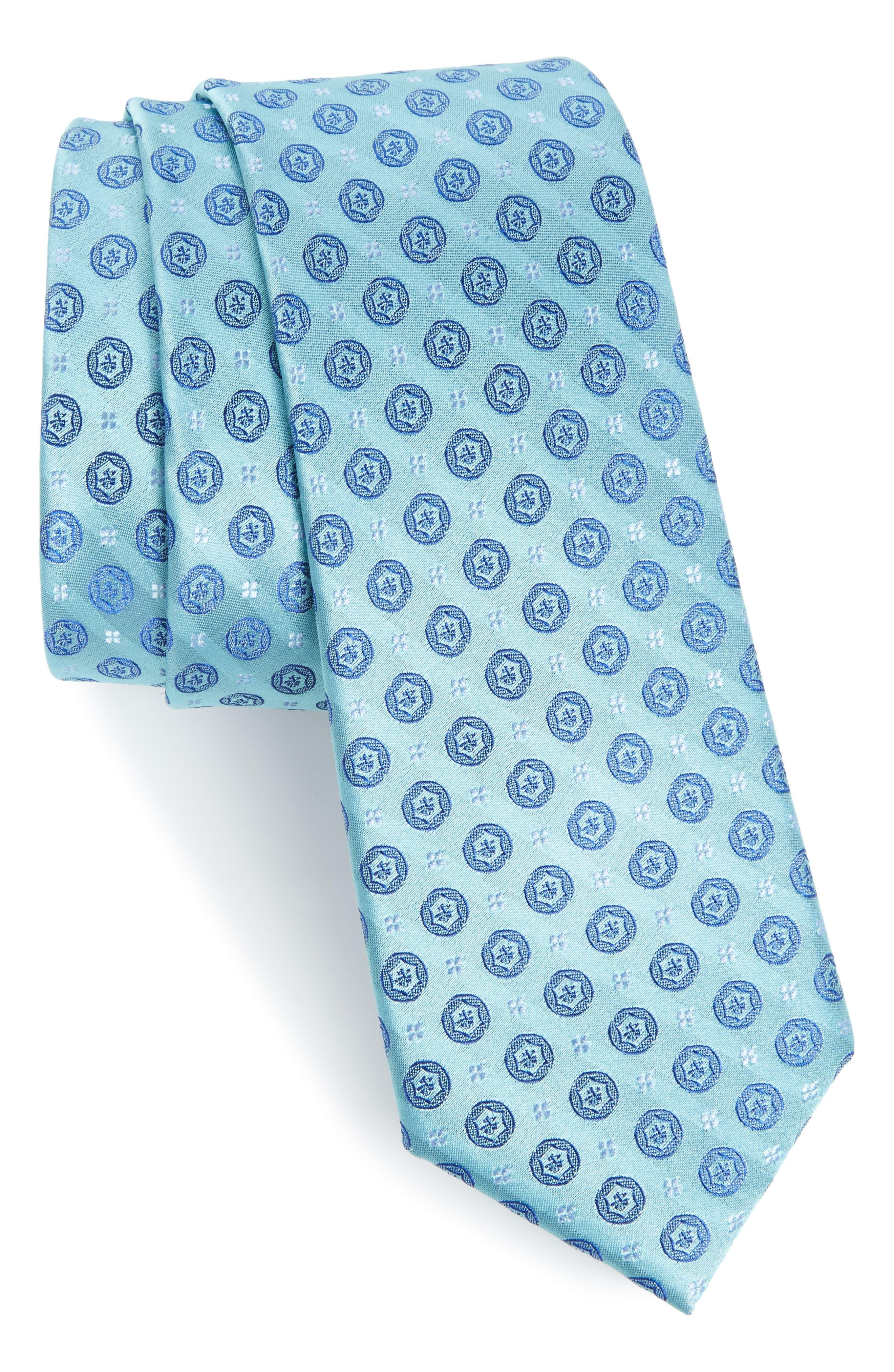 Modern Medallion Silk Skinny Tie,                             Main thumbnail 1, color,                             Green