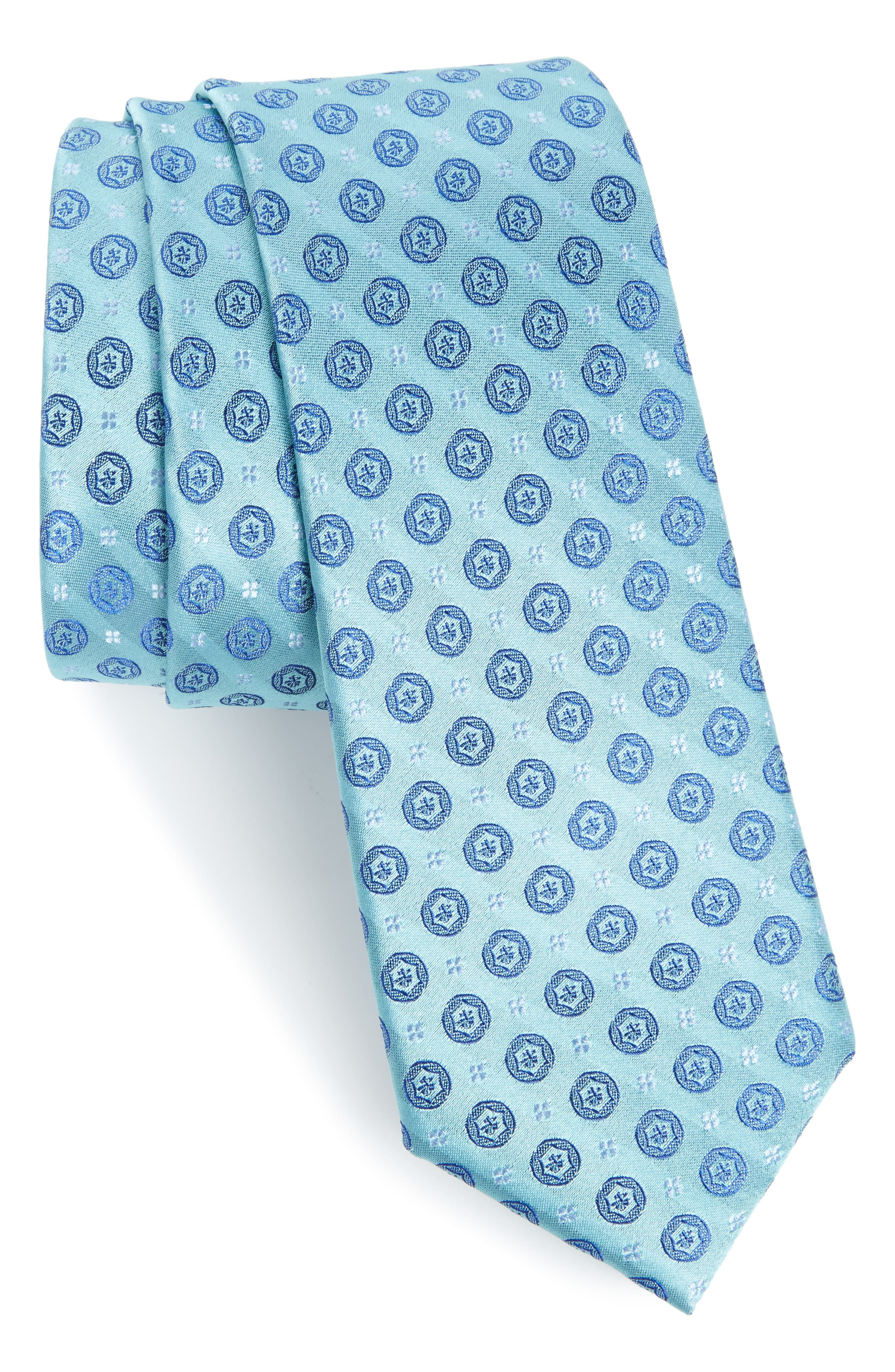 Modern Medallion Silk Skinny Tie,                         Main,                         color, Green