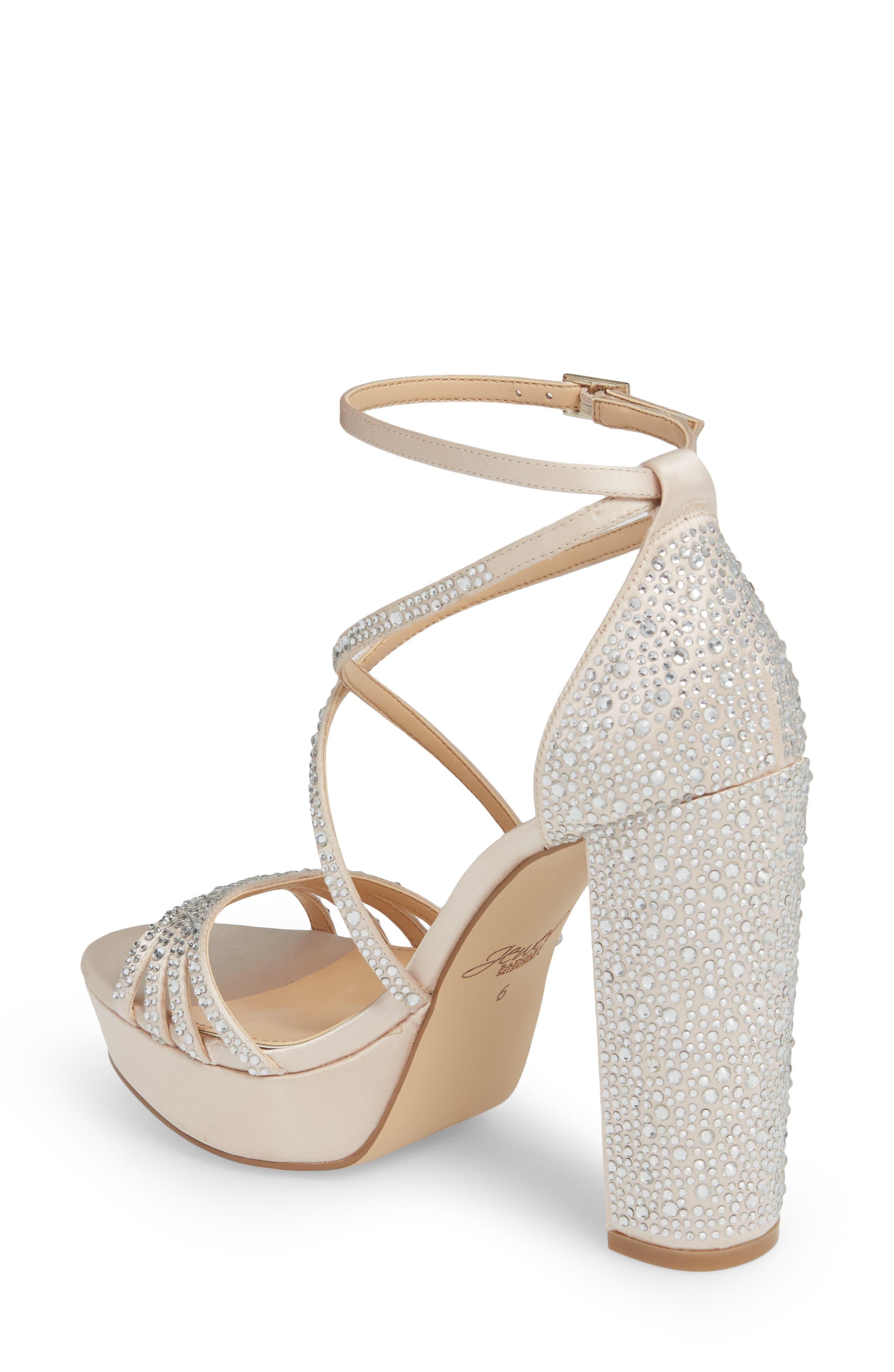 Tarah Crystal Embellished Platform Sandal,                             Alternate thumbnail 2, color,                             Champagne Satin