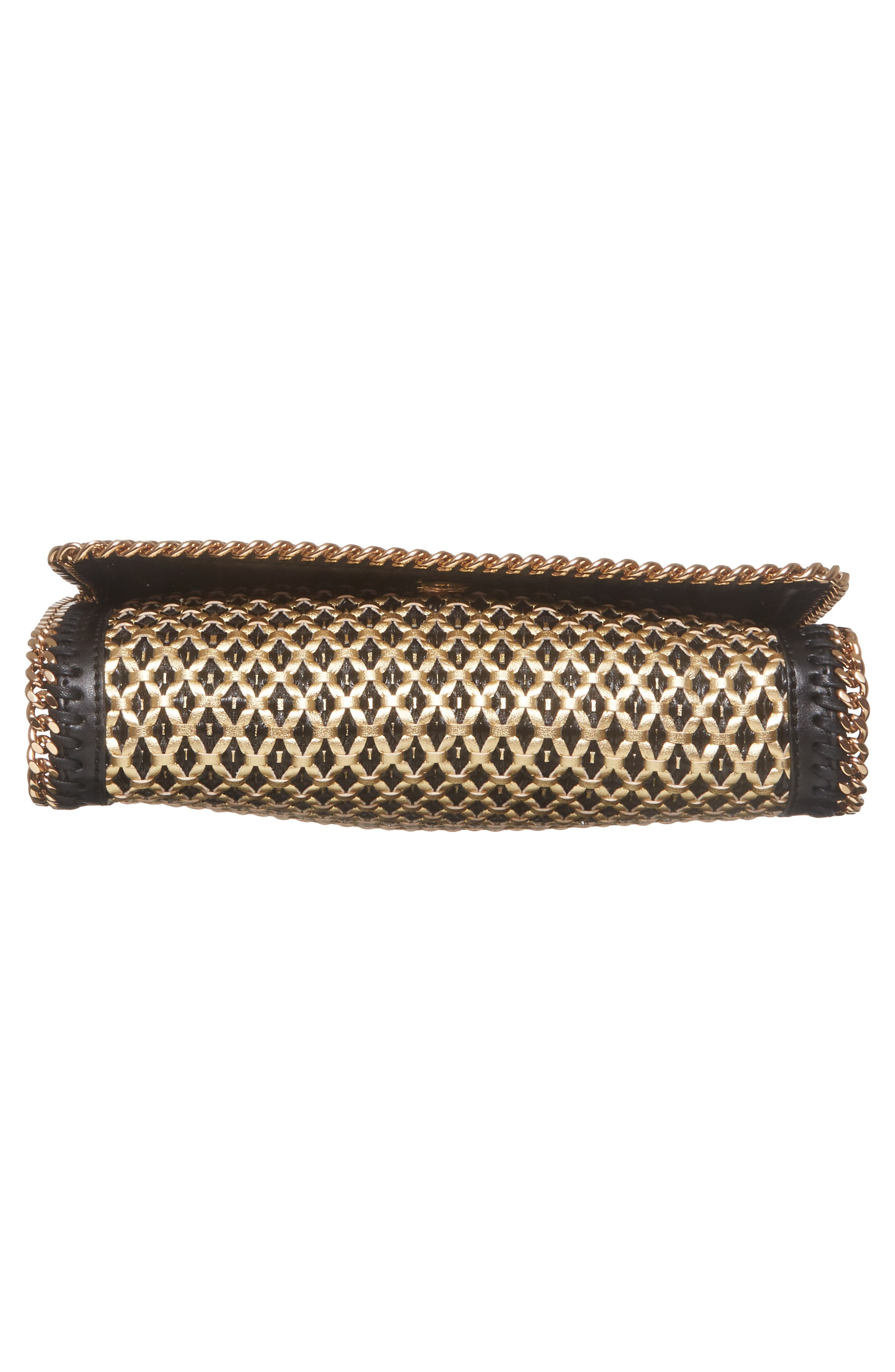 Falabella Woven Faux Leather Clutch,                             Alternate thumbnail 6, color,                             Black