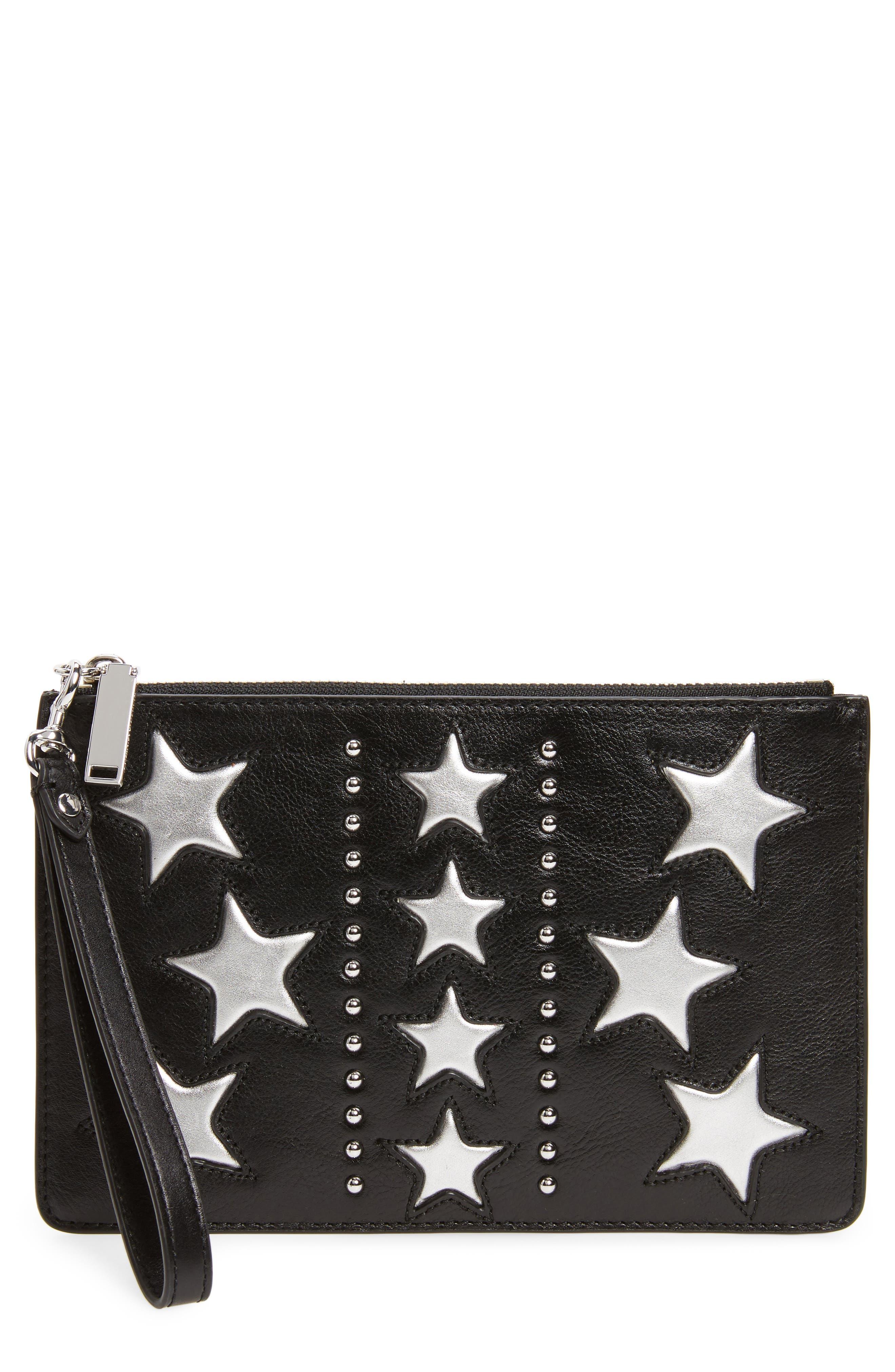 Leather Wristlet Pouch,                         Main,                         color, Black/ Silver