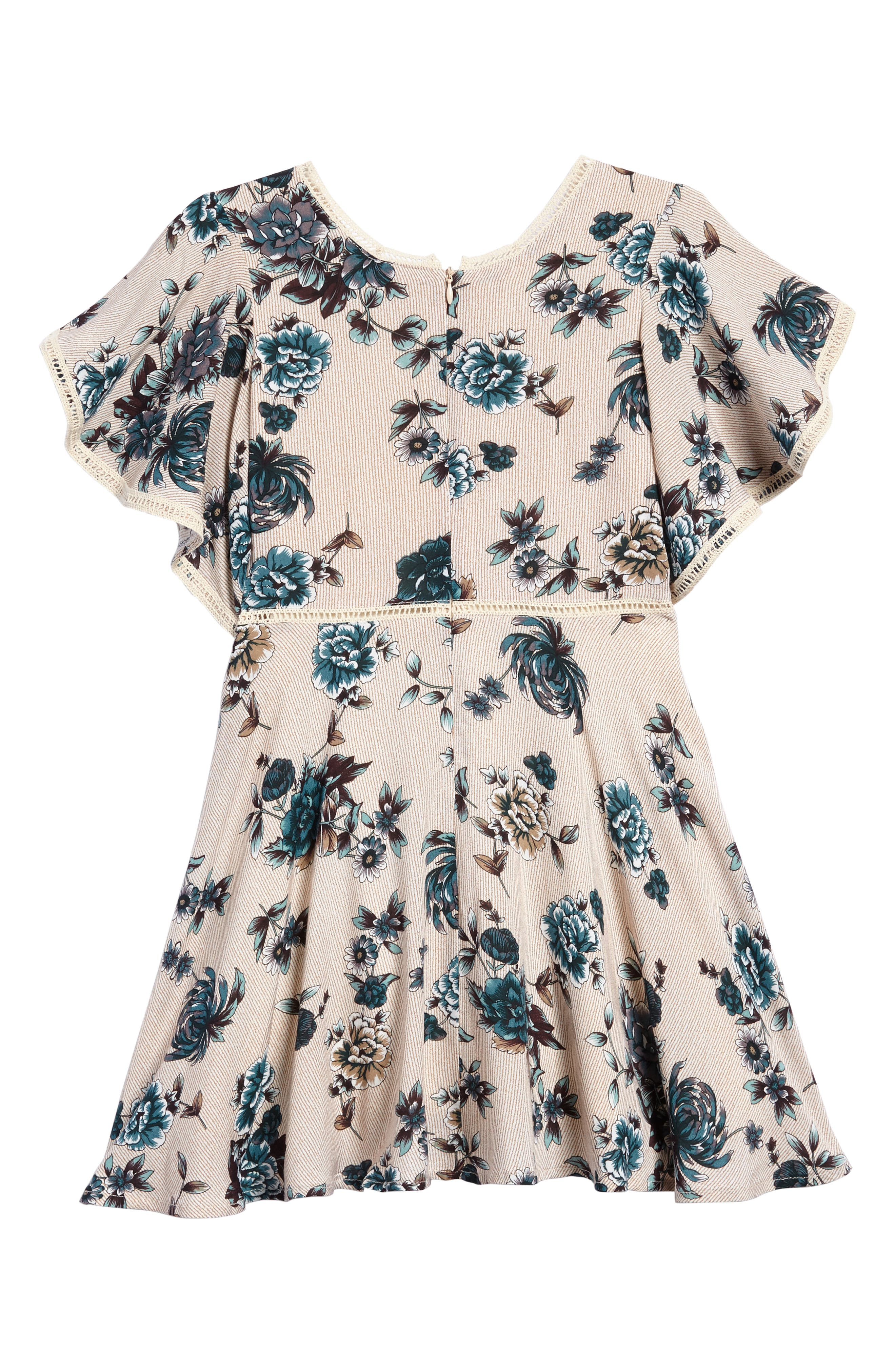 Alternate Image 2  - For All Seasons Floral Print Ruffle Sleeve Dress (Big Girls)